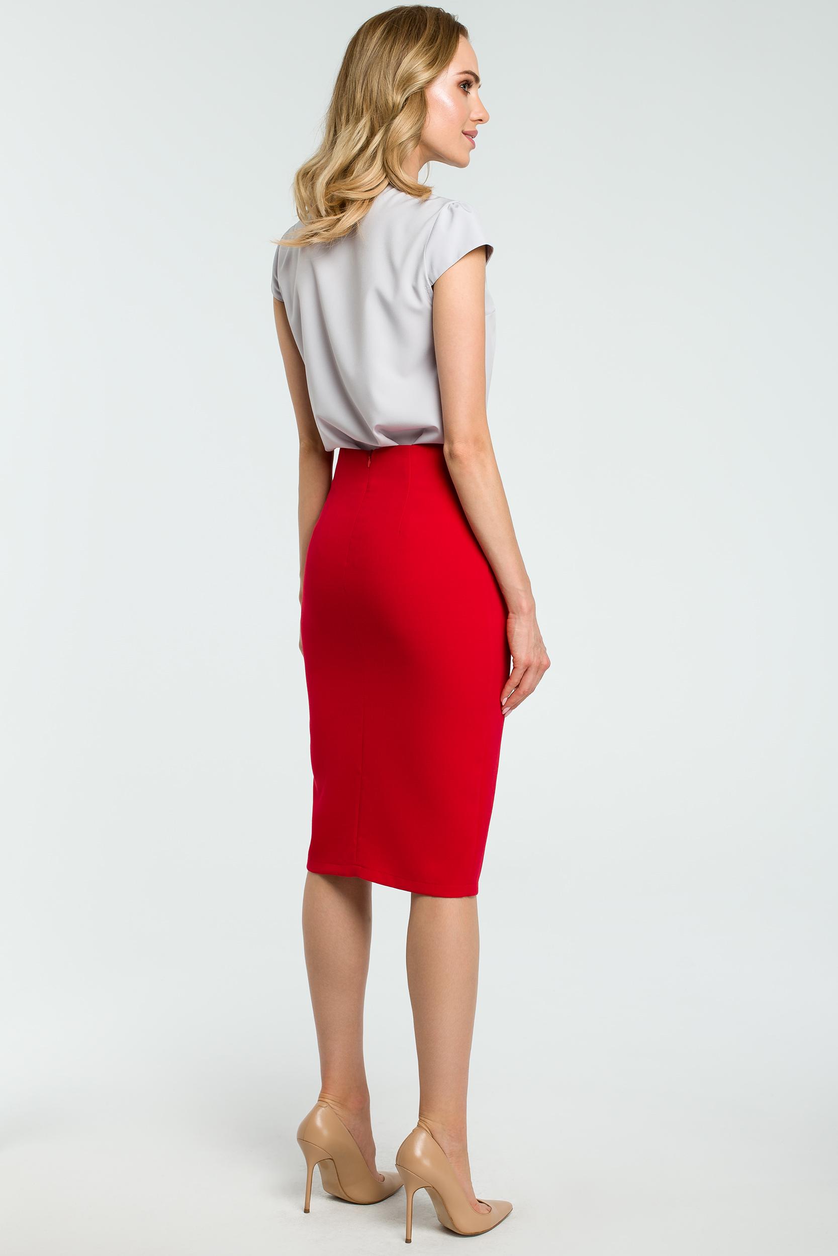 CM3808 Ołówkowa spódniczka z wiązanym paskiem - czerwona
