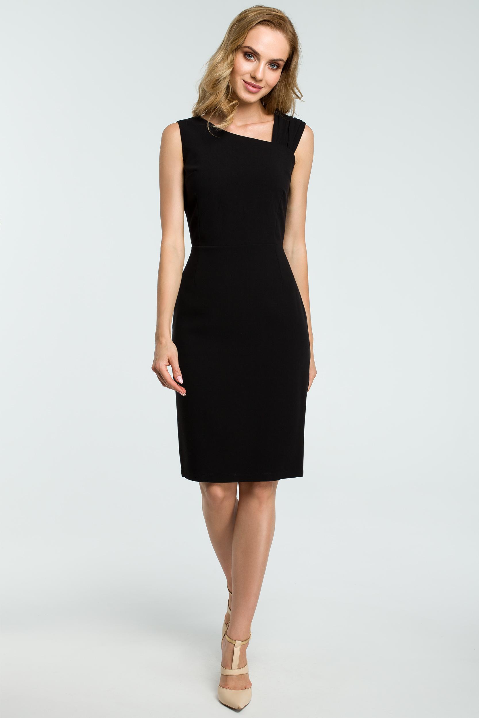 CM3811 Elegancka sukienka ołówkowa z rozcięciem - czarna