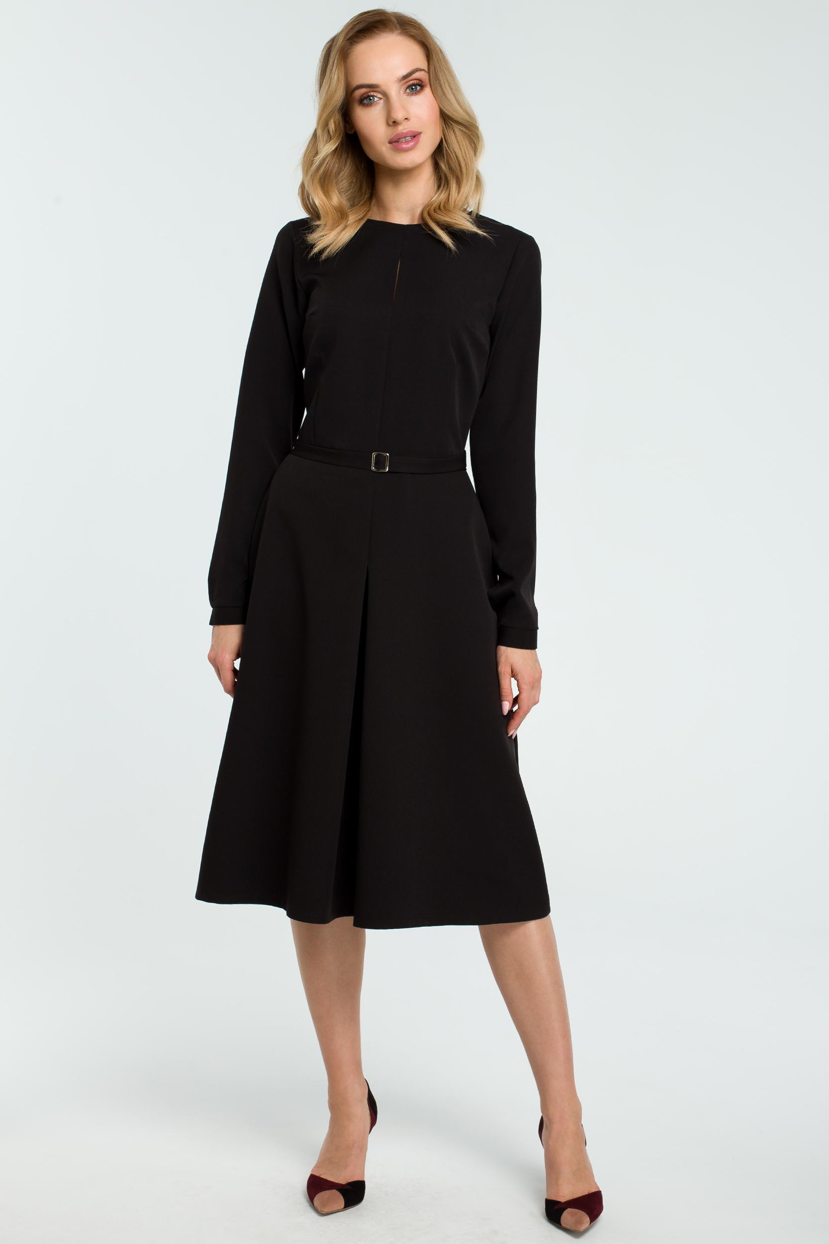 CM3812 Trapezowa sukienka z długim rękawem - czarna