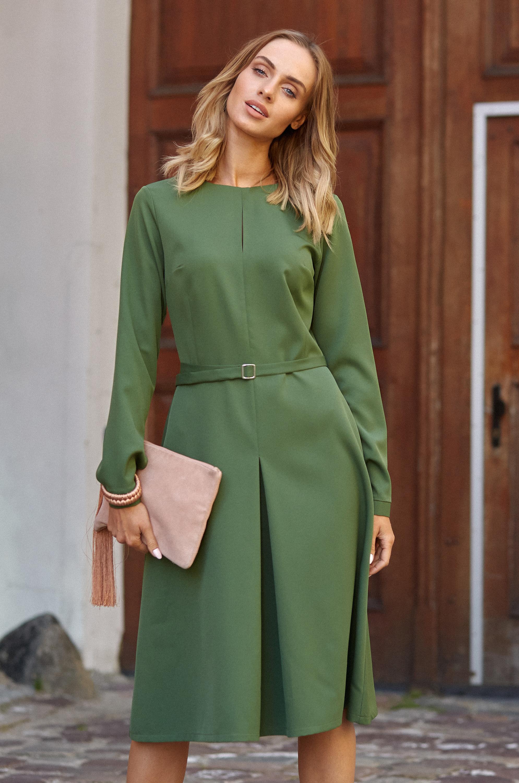 c52ebdb5b9 CM3812 Trapezowa sukienka z długim rękawem - zielona ...