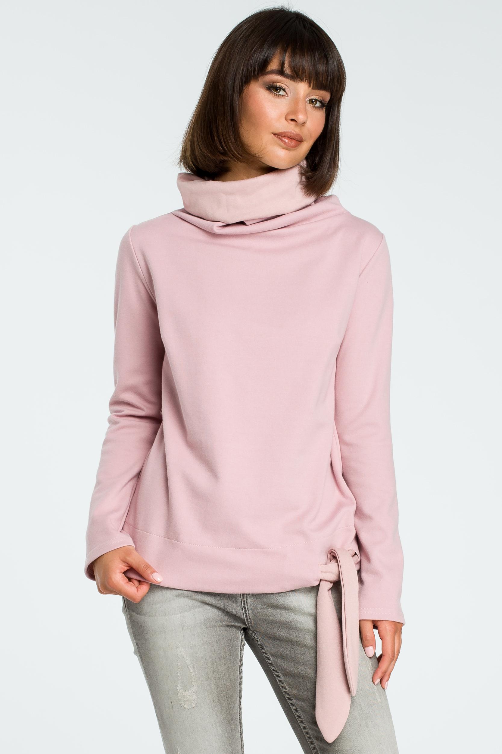 CM3799 Stylowa bluza z wiązaniem - pudrowa