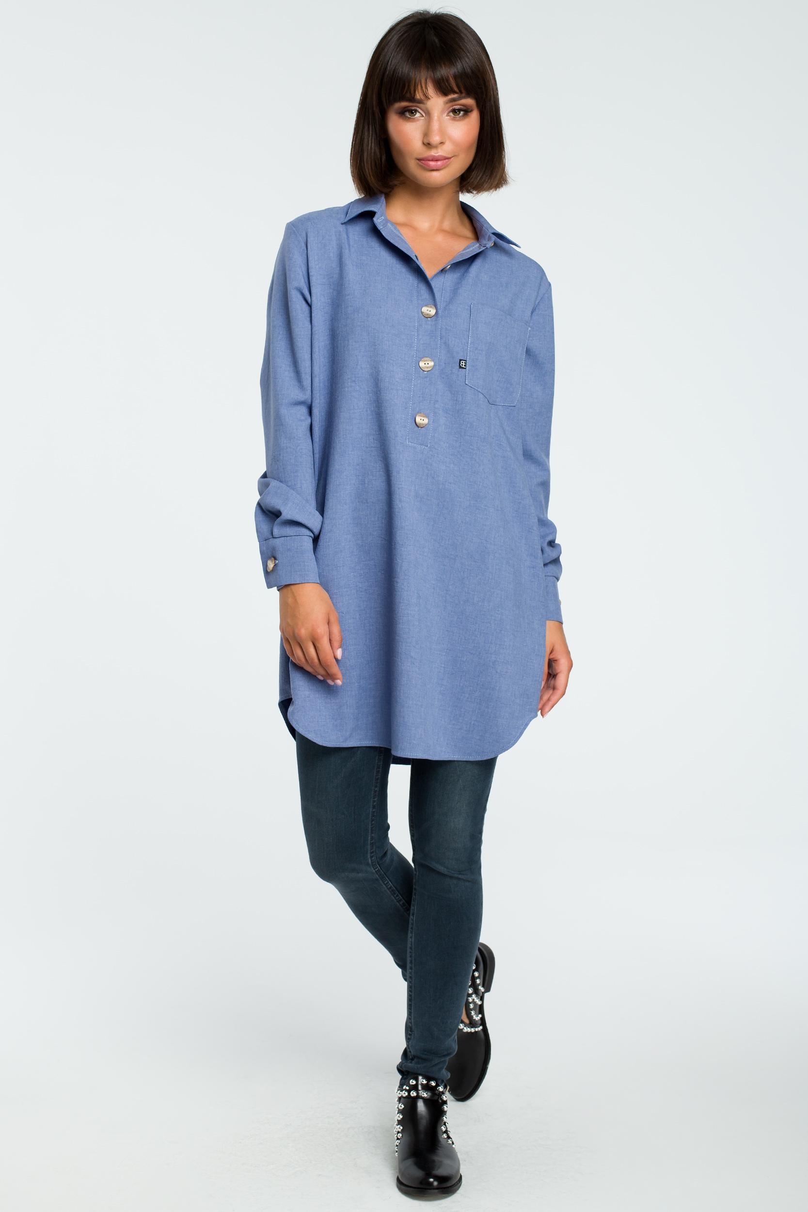 CM3815 Tunika koszulowa z kołnierzykiem - niebieska