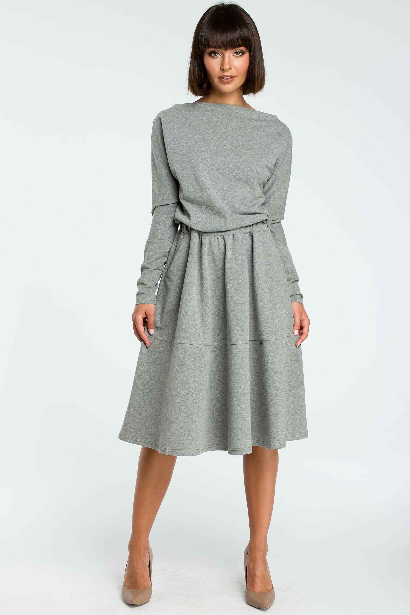 8743d80c5d CM3816 Rozkloszowana sukienka z długim rękawem - szara ...