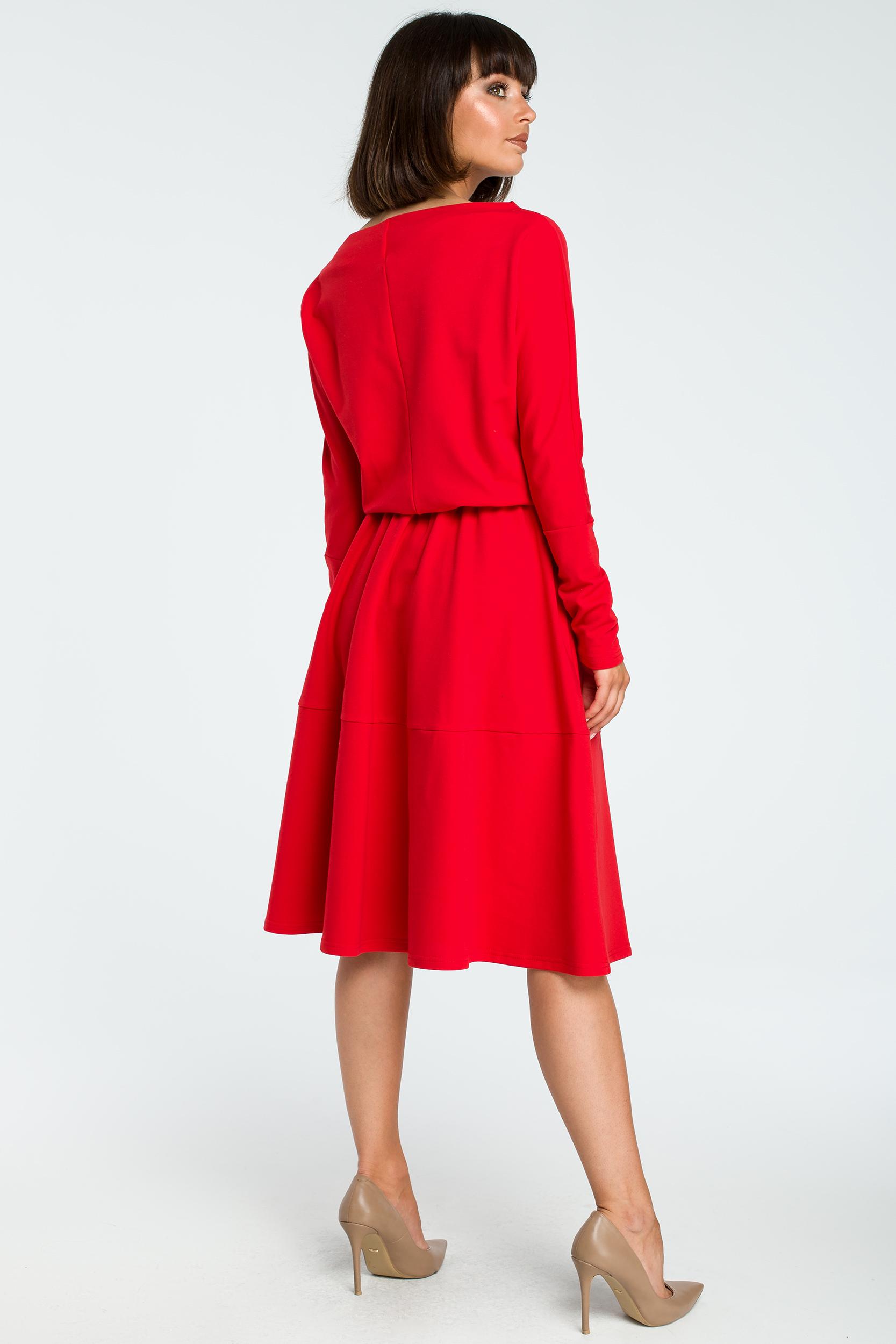 CM3816 Rozkloszowana sukienka z długim rękawem - czerwona