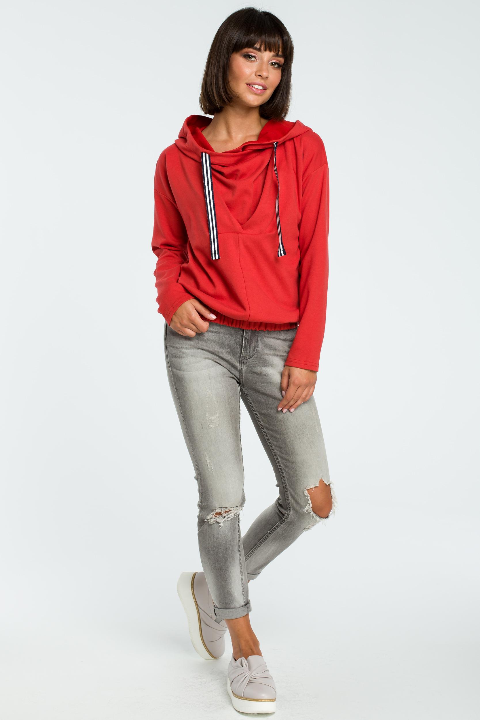 CM3817 Dresowa bluza z kapturem - czerwona