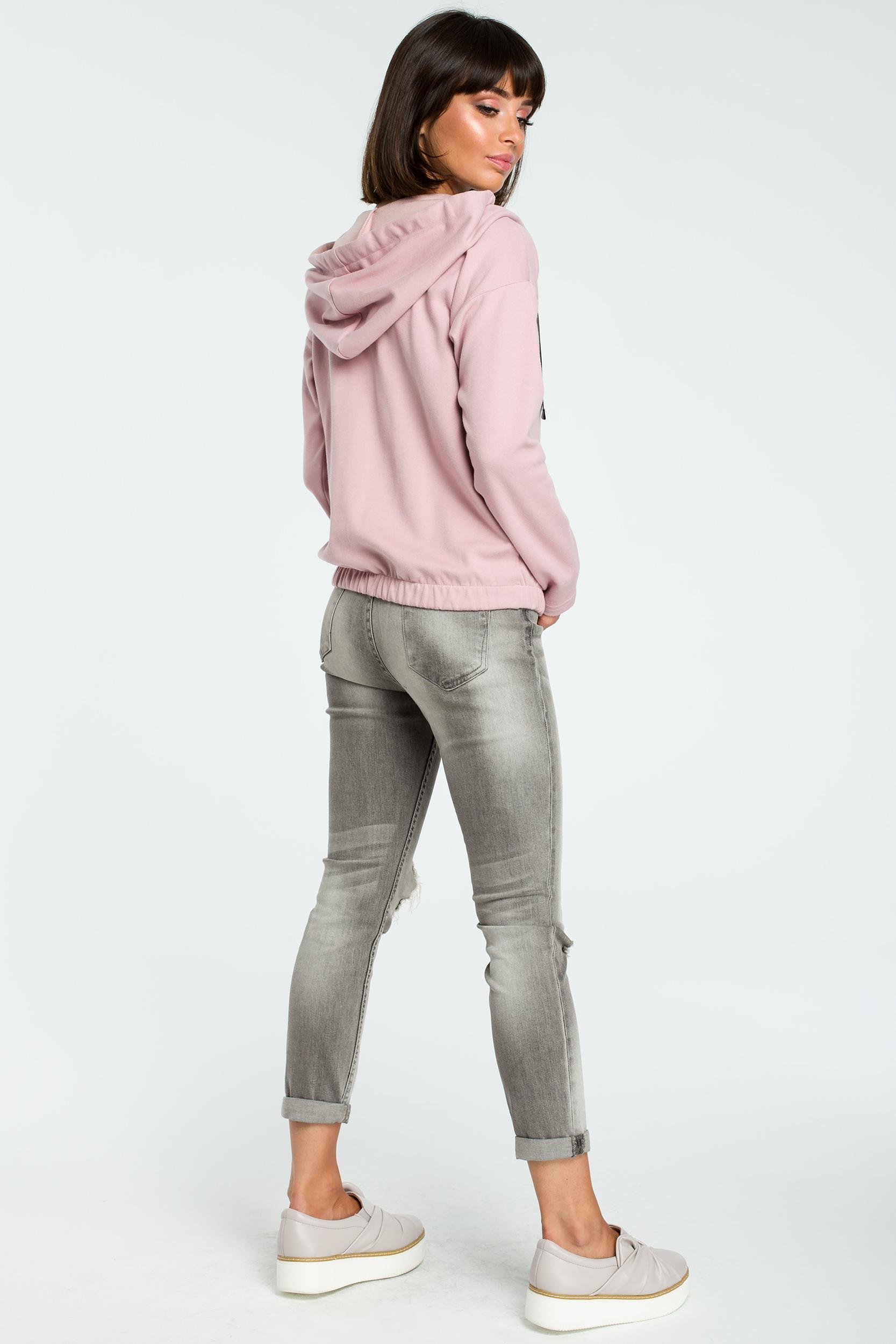 CM3817 Dresowa bluza z kapturem - pudrowa