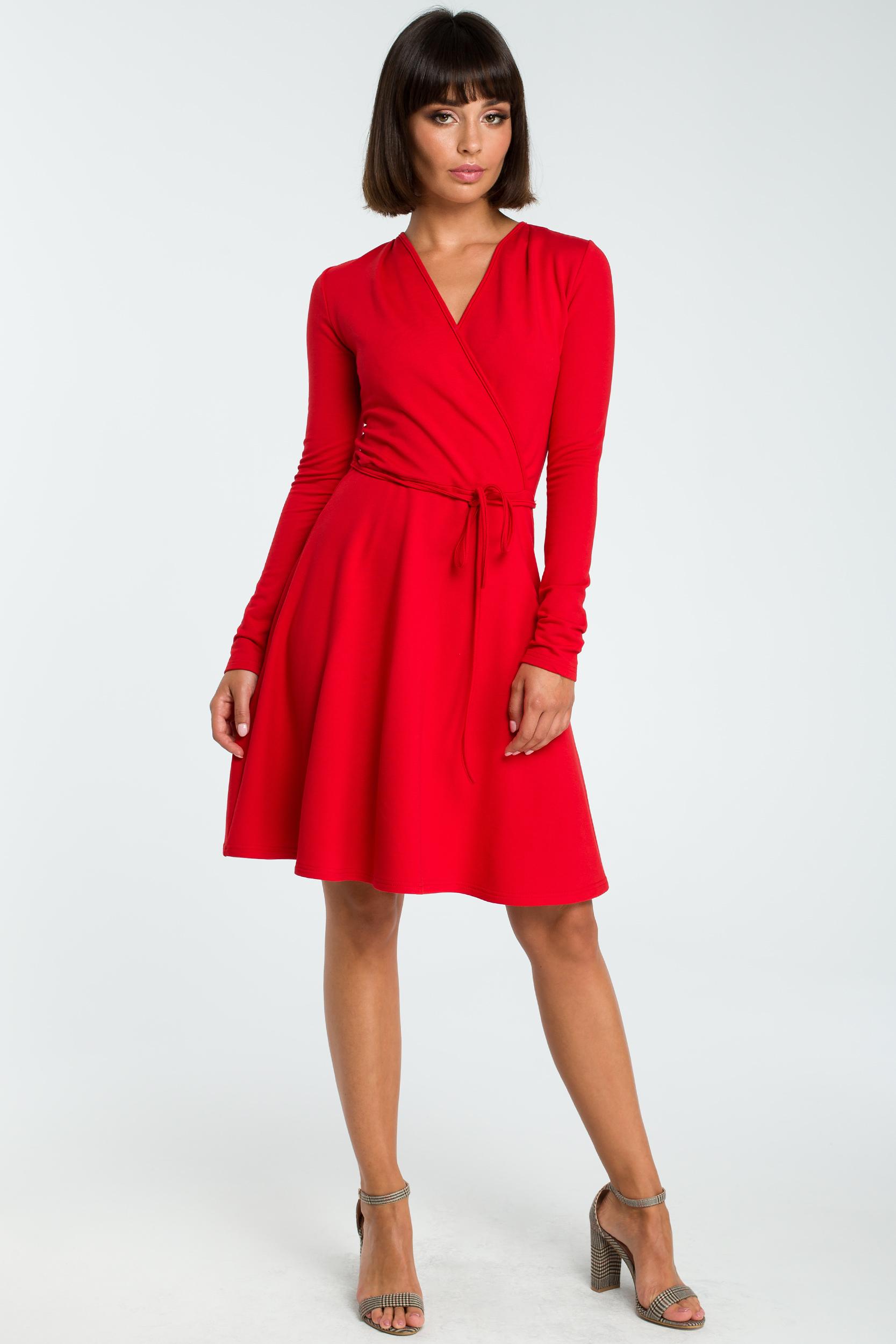 CM3821 Sukienka midi z wiązaniem - czerwona