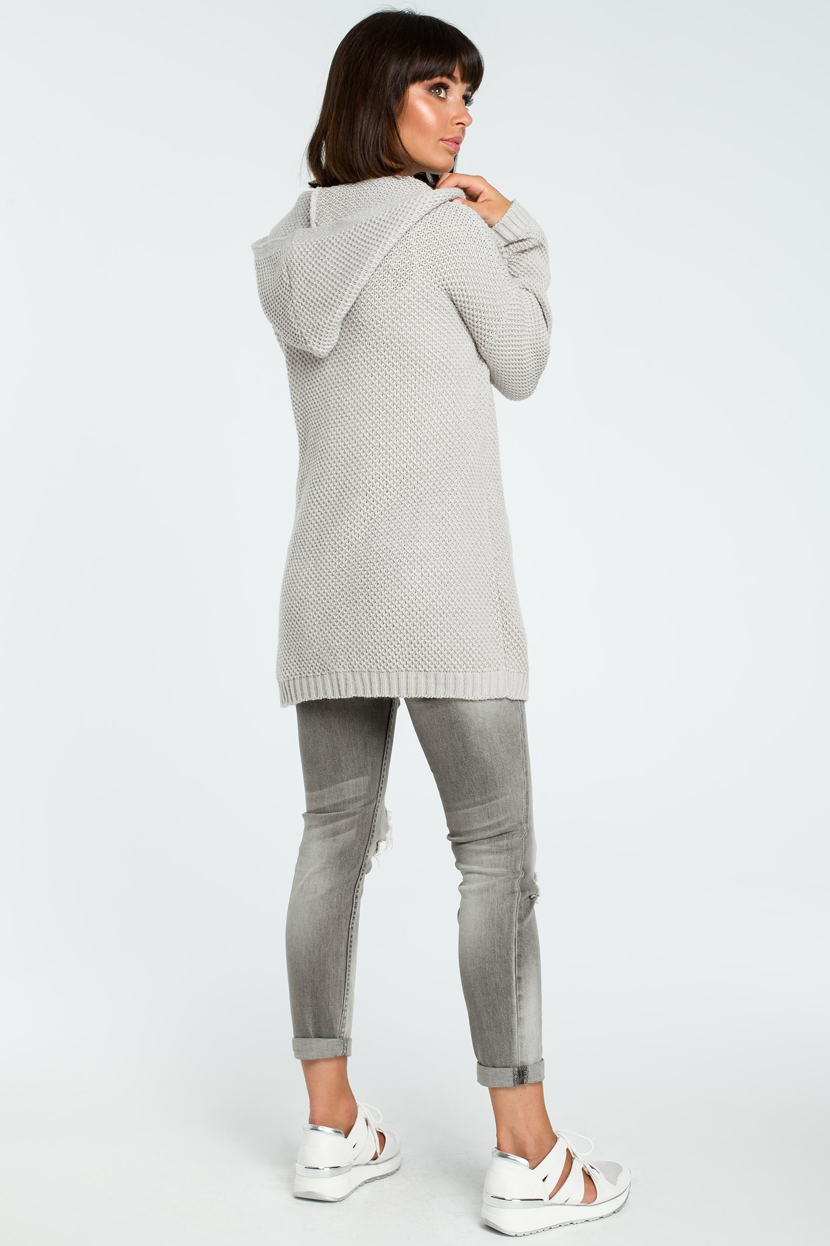 CM3823 Kobiecy kardigan z kapturem - szary
