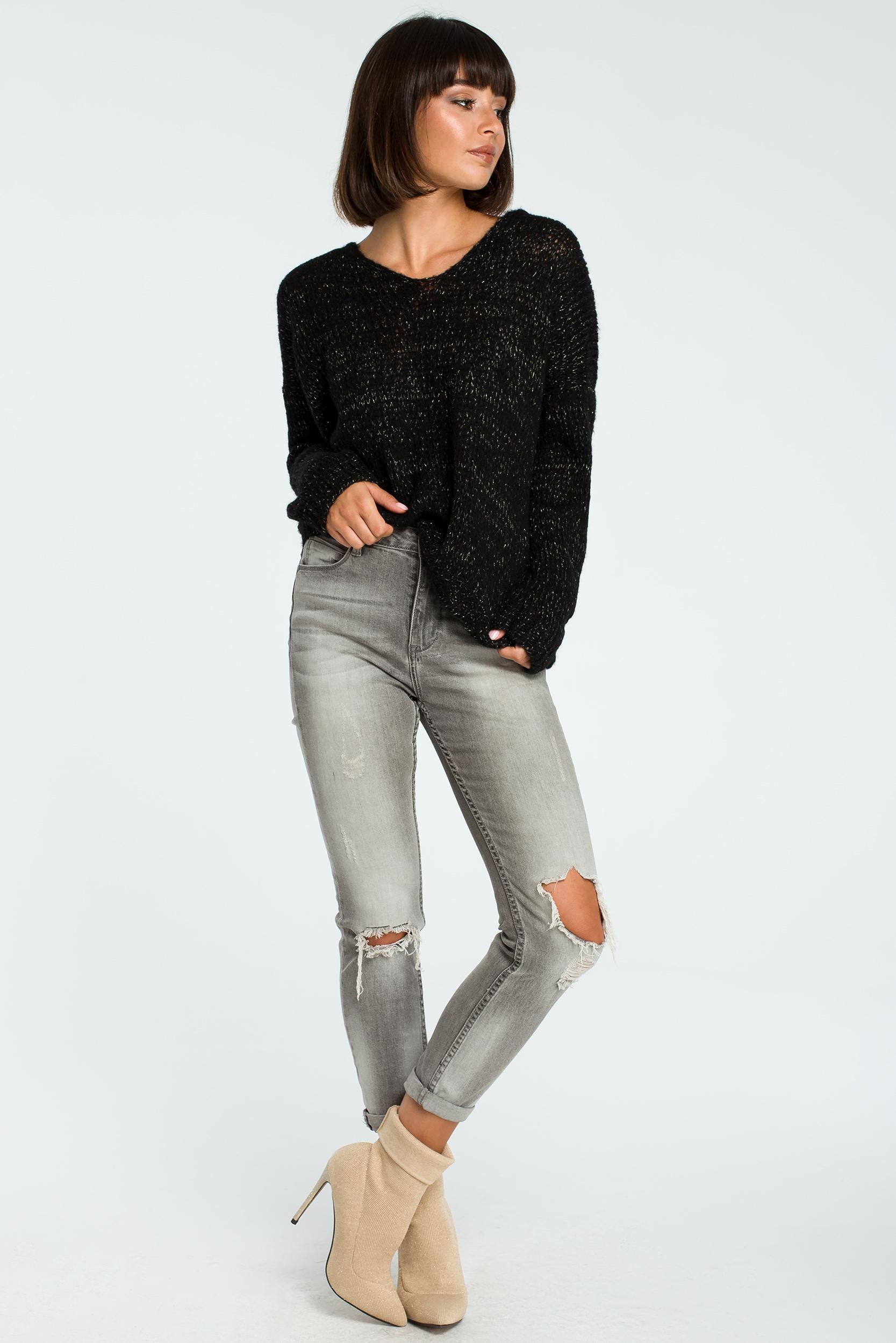 CM3825 Wygodny sweter z dużym dekoltem - czarny