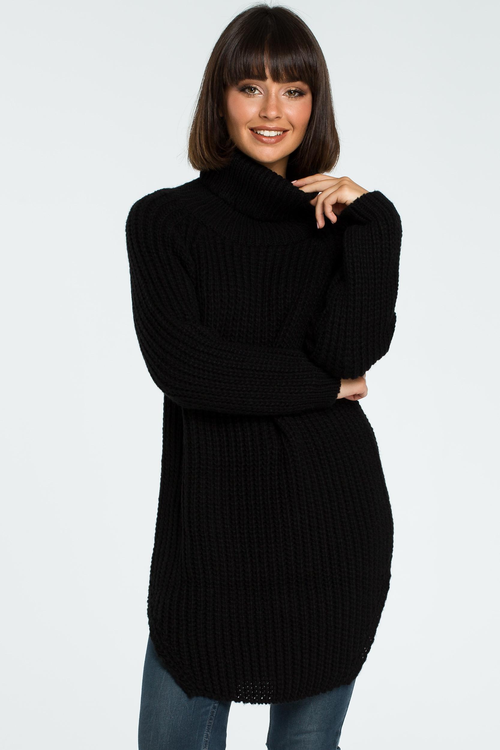 CM3826 Długi sweter z golfem - czarny