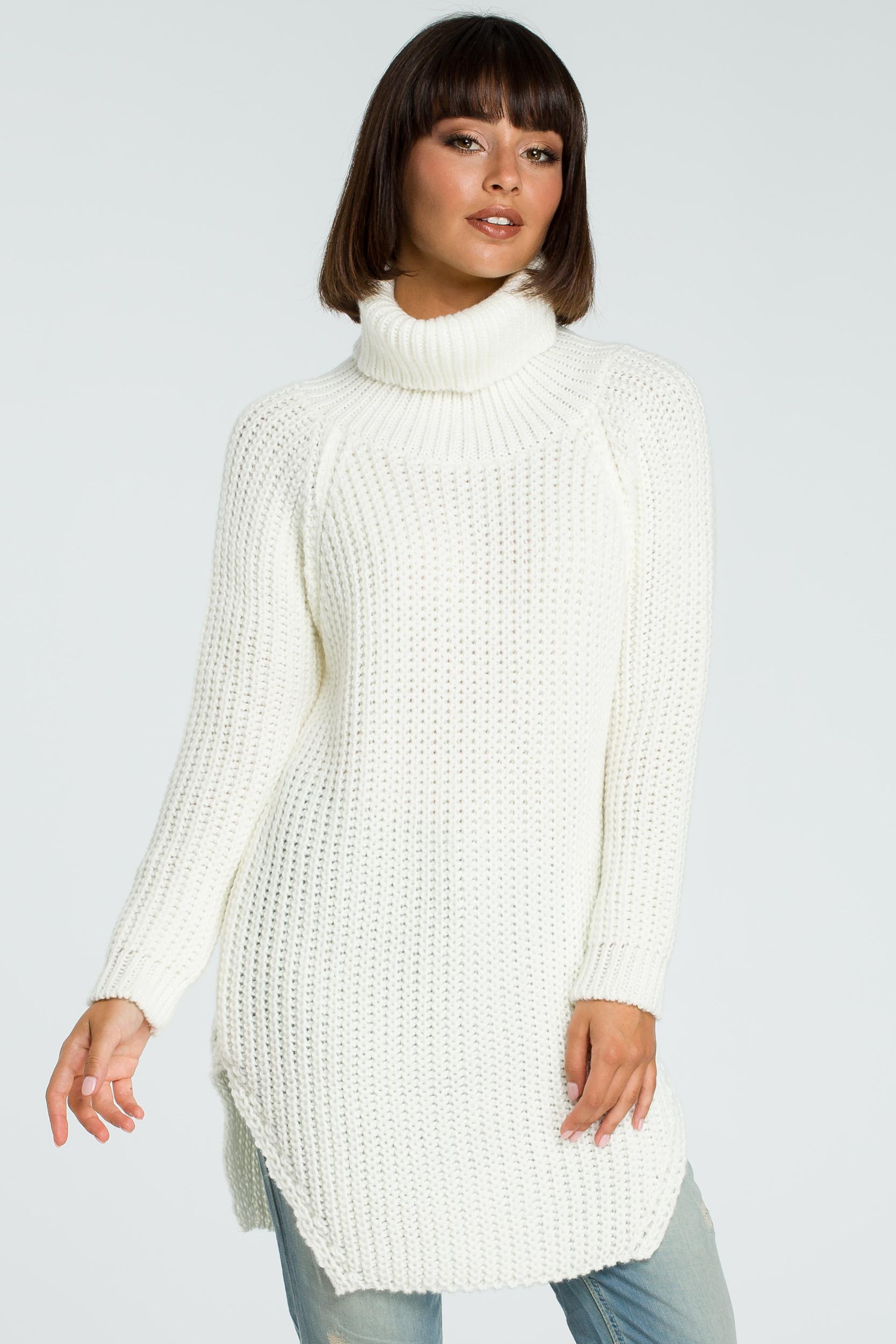 CM3826 Długi sweter z golfem - ecru