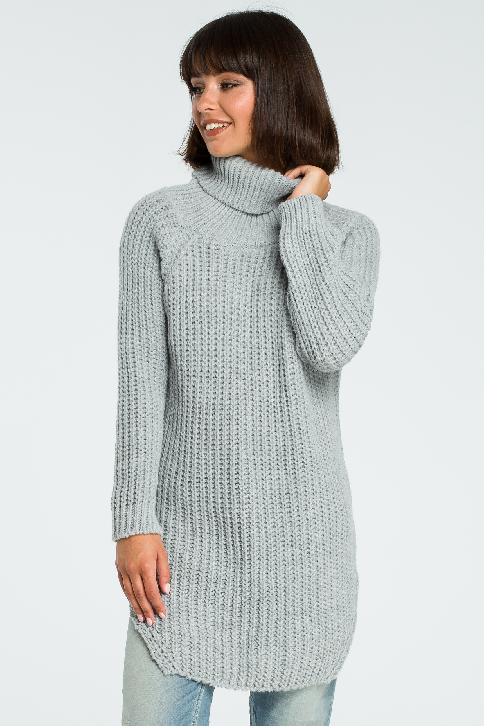CM3826 Długi sweter z golfem - szary