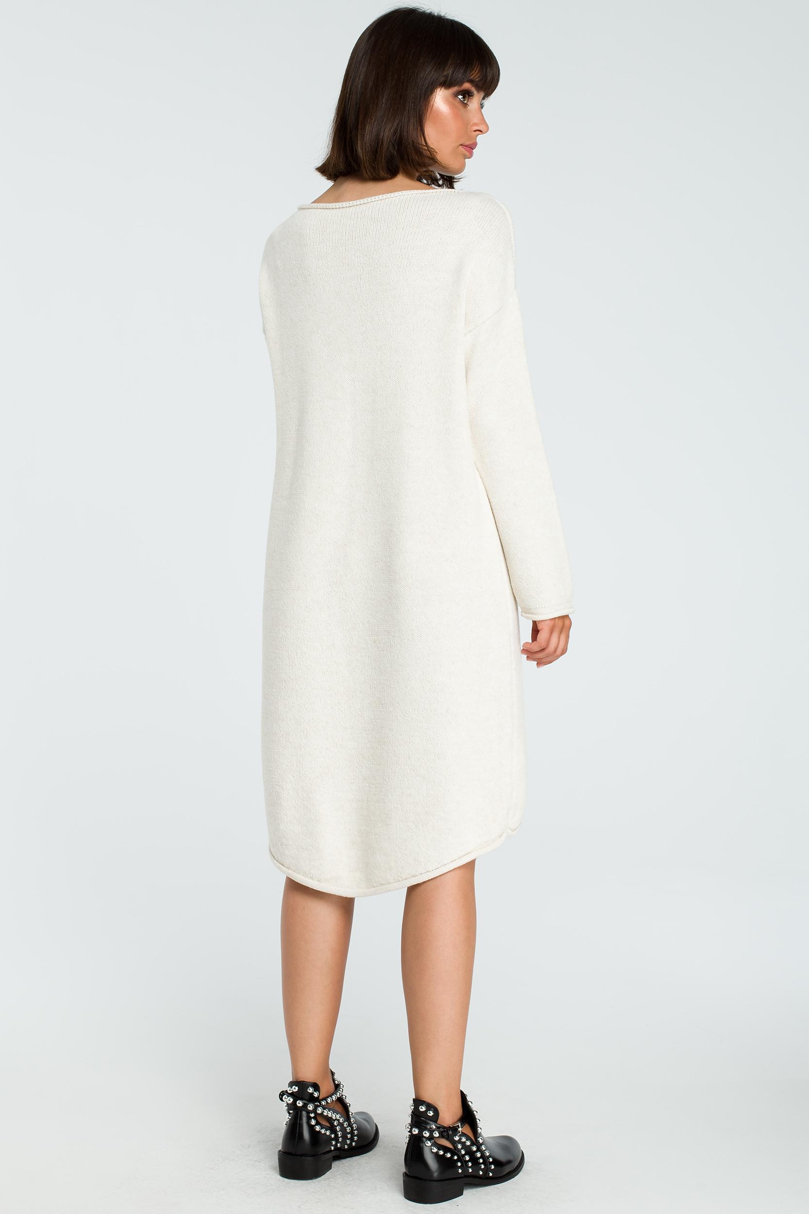 CM3827 Sukienka swetrowa z asymetrycznym dołem - beżowa