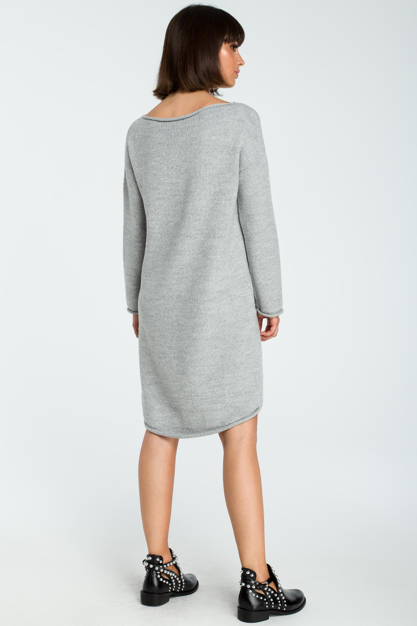 CM3827 Sukienka swetrowa z asymetrycznym dołem - szara