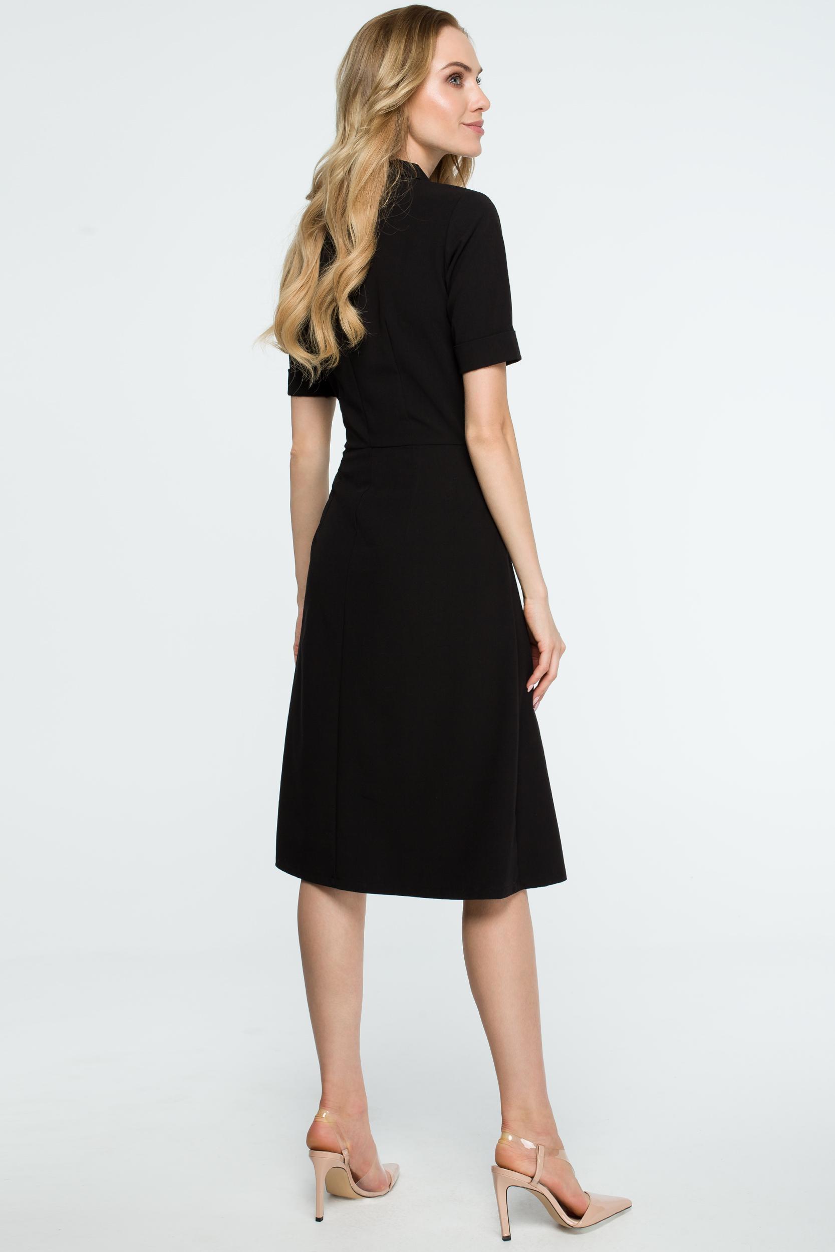 CM3840 Trapezowa sukienka midi z kołnierzem - czarna