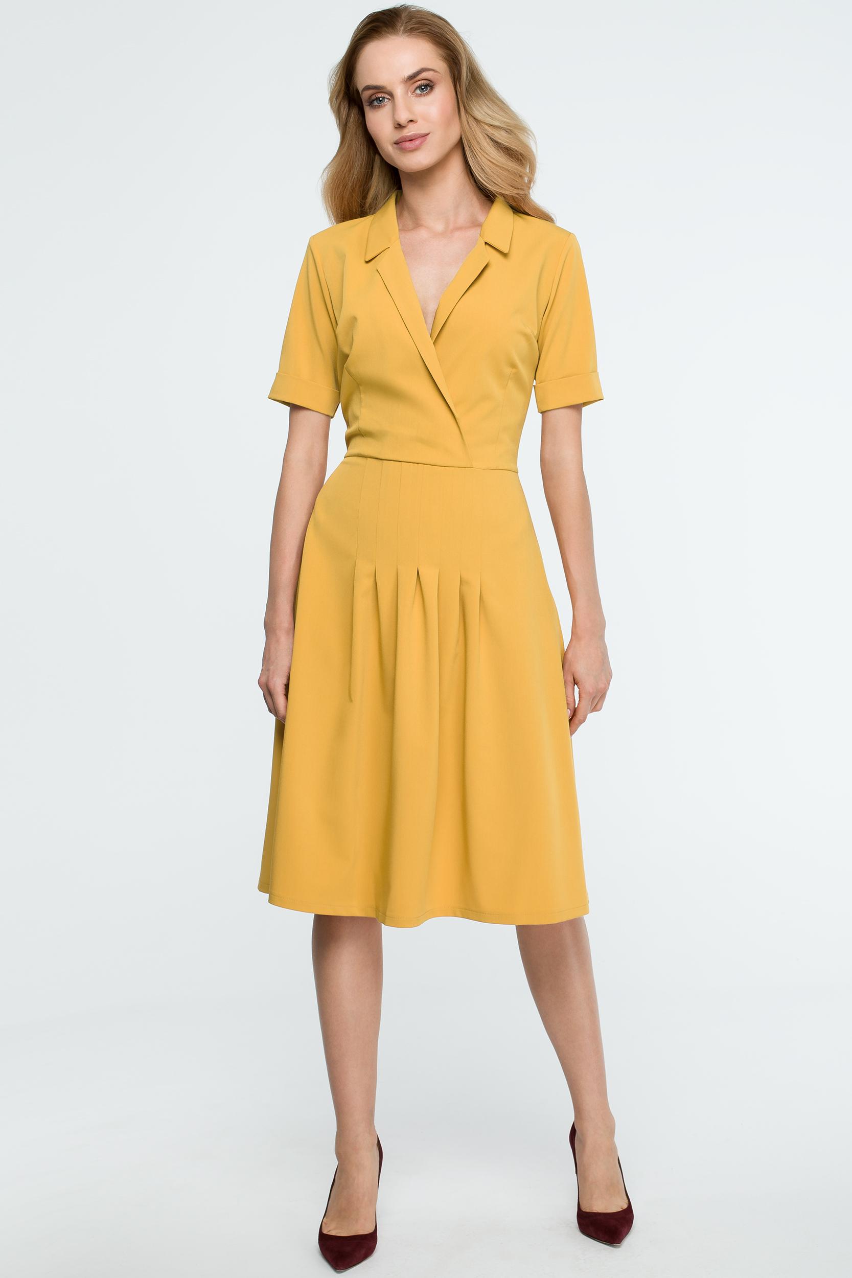 CM3840 Trapezowa sukienka midi z kołnierzem - żółta