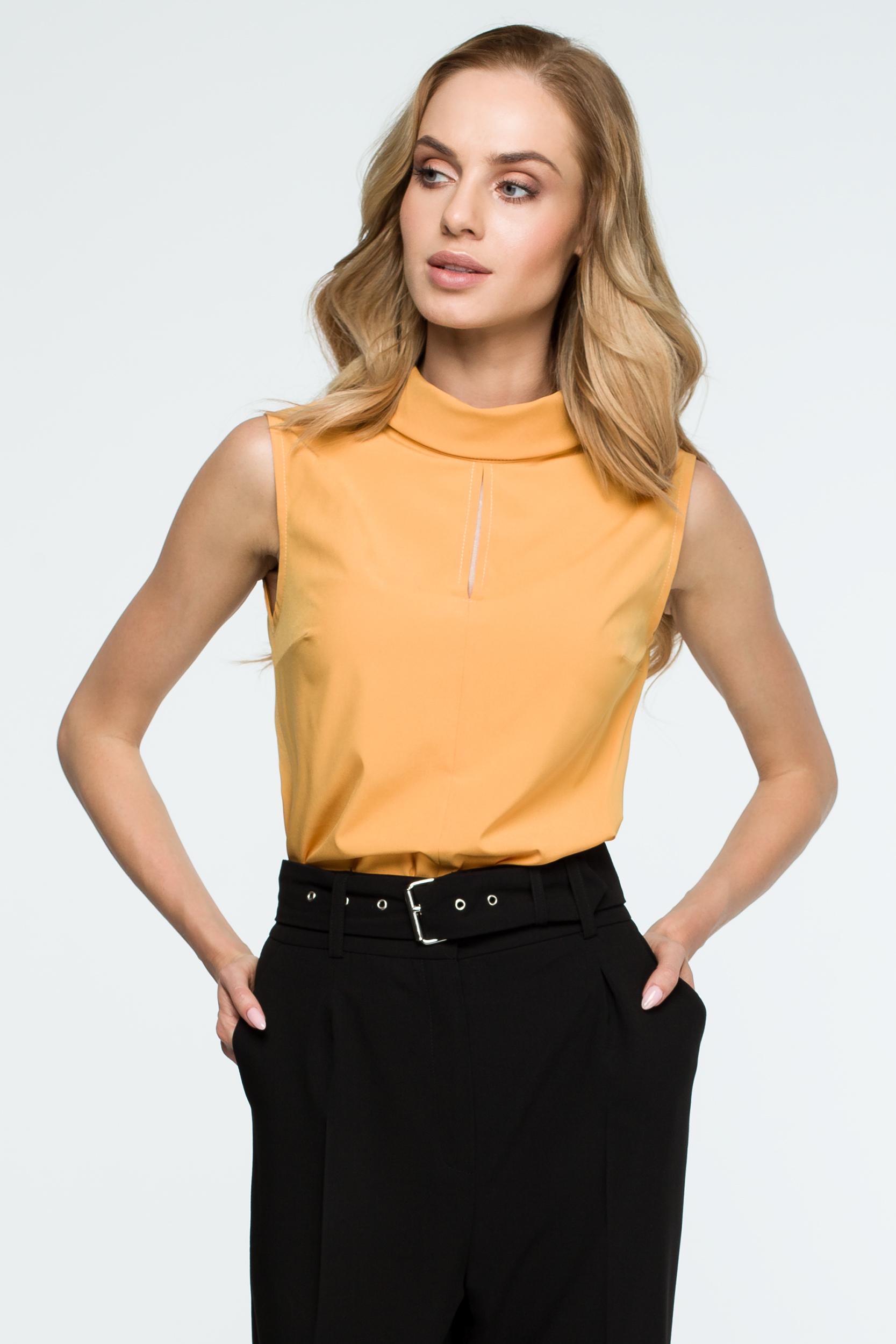 CM3841 Damska bluzka ze stójką - żółta