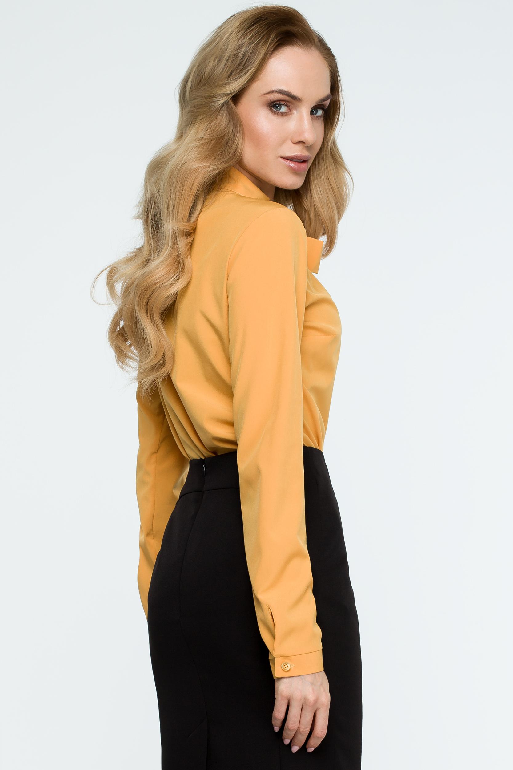 CM3848 Gładka bluzka z wiązaniem - żółta