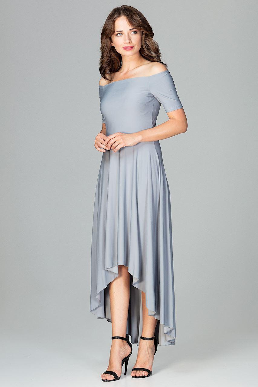 CM3851 Asymetryczna sukienka wieczorowa z falbanami - szara