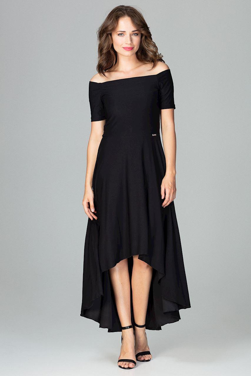 CM3851 Asymetryczna sukienka wieczorowa z falbanami - czarna