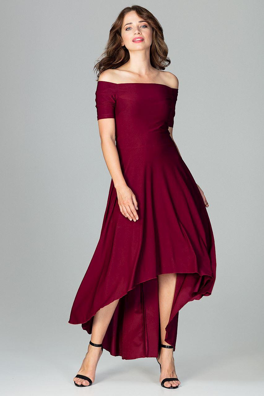 CM3851 Asymetryczna sukienka wieczorowa z falbanami - bordowa