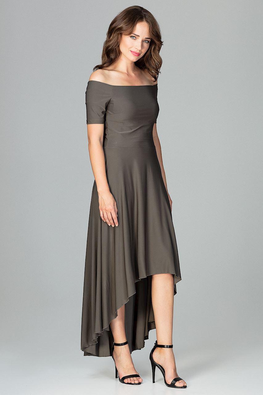 d753025b00 CM3851 Asymetryczna sukienka wieczorowa z falbanami - oliwkowa ...