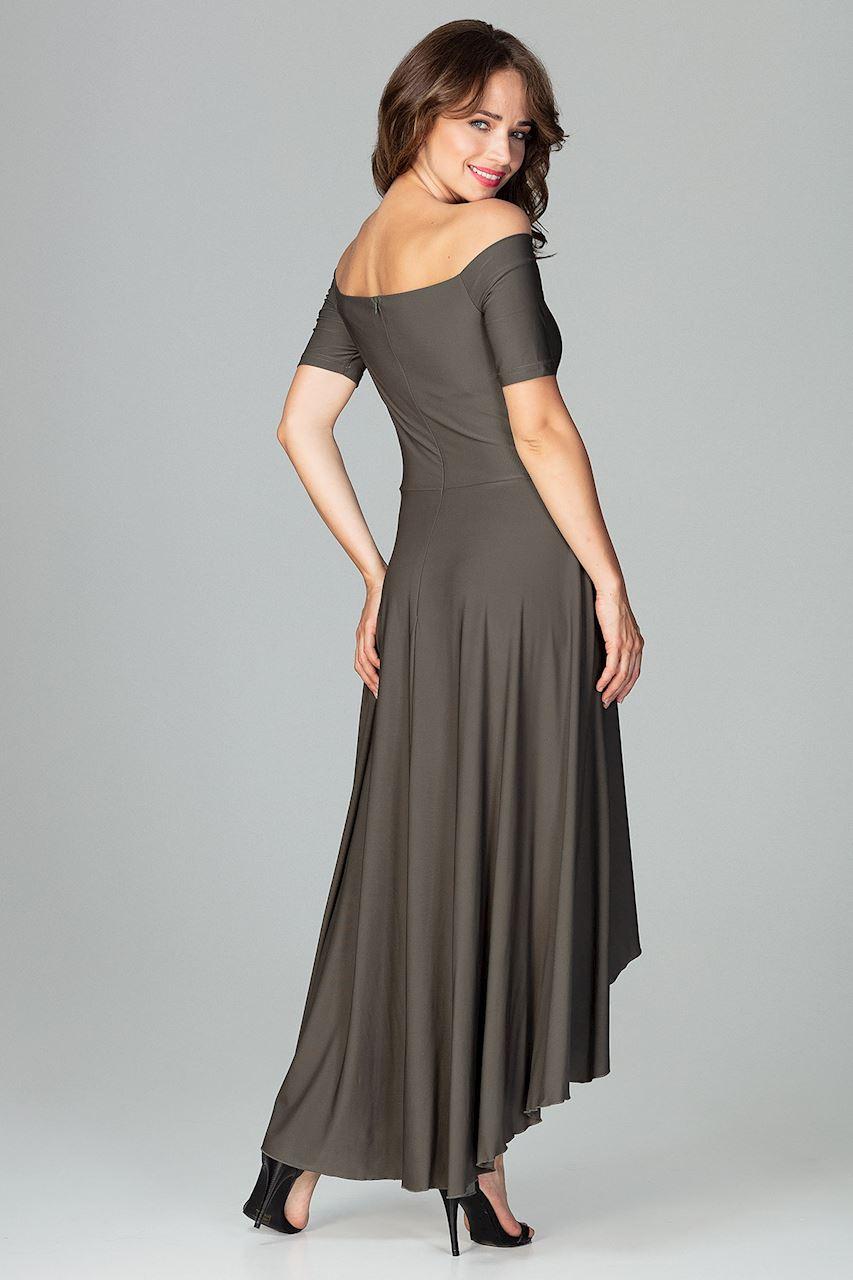 CM3851 Asymetryczna sukienka wieczorowa z falbanami - oliwkowa