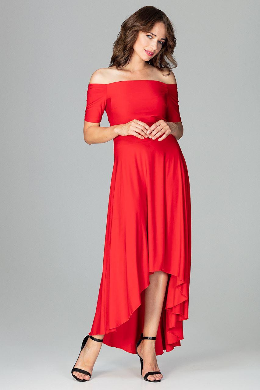 CM3851 Asymetryczna sukienka wieczorowa z falbanami - czerwona