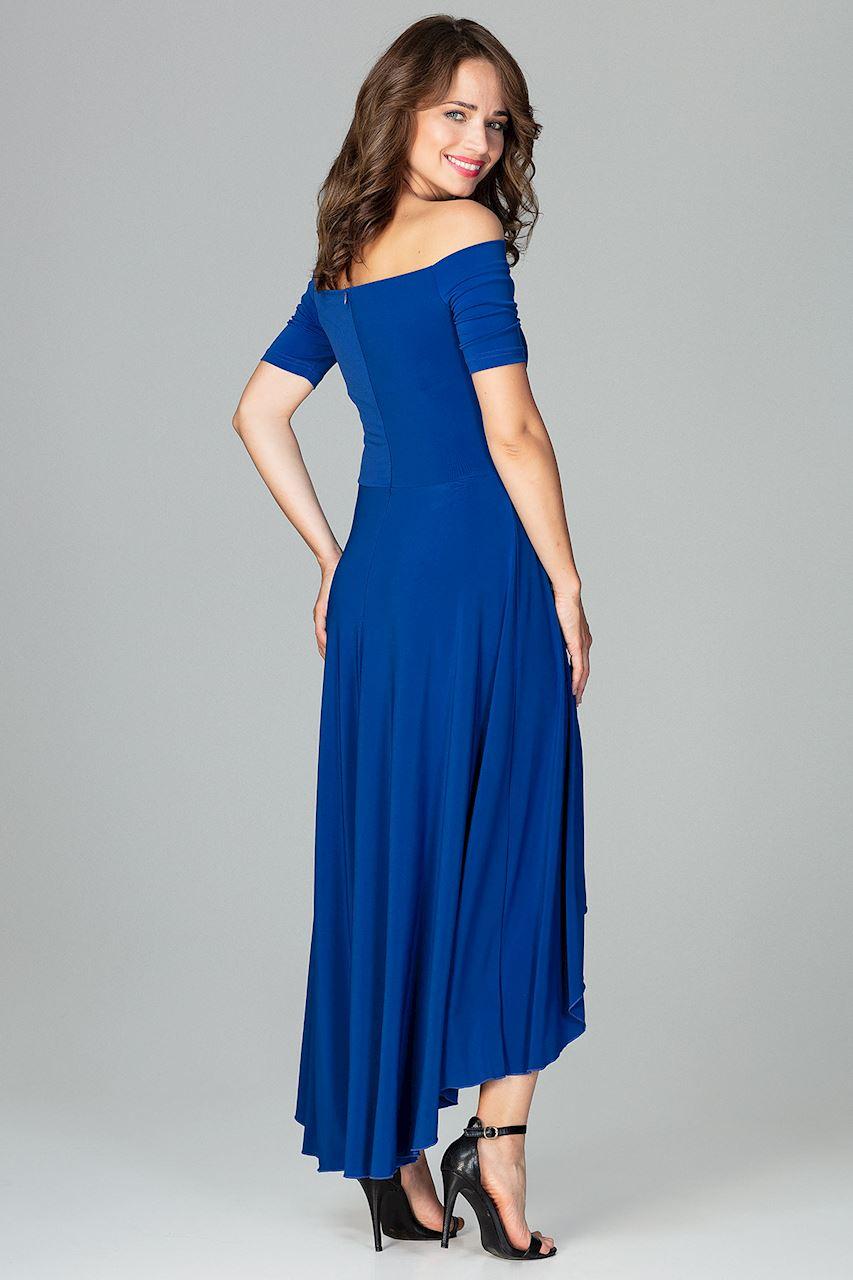 CM3851 Asymetryczna sukienka wieczorowa z falbanami - szafirowa