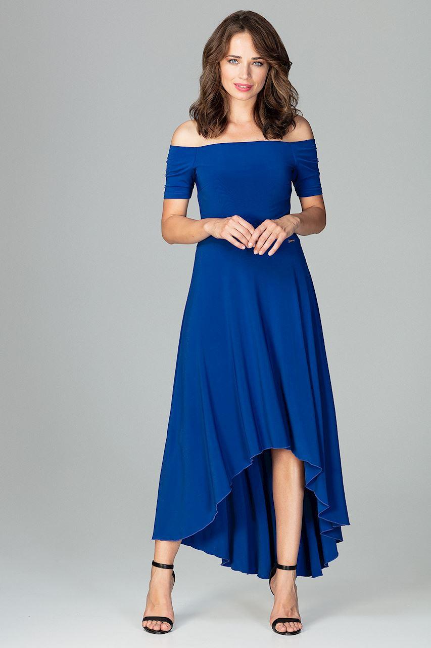 097c6cd846 CM3851 Asymetryczna sukienka wieczorowa z falbanami - szafirowa ...