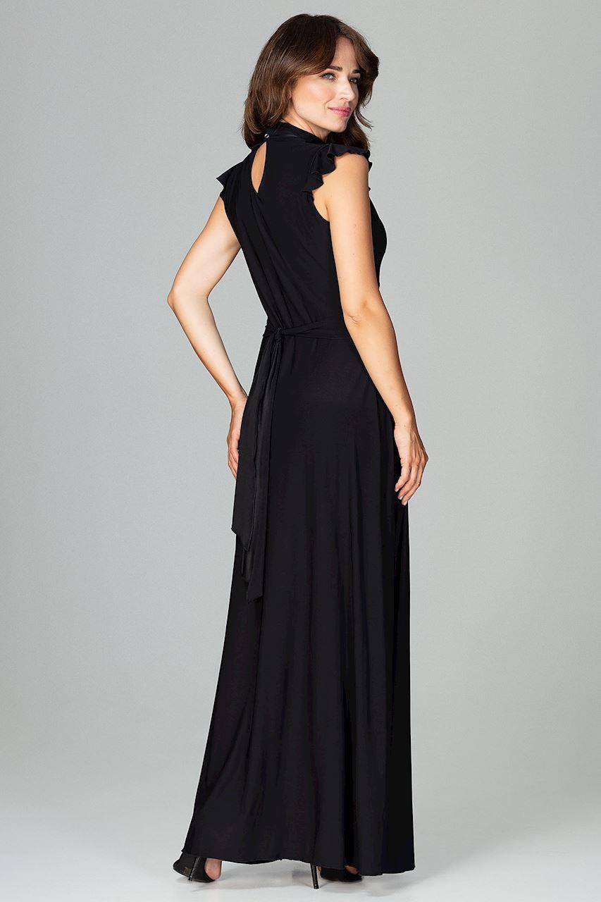 CM3852 Rozkloszowana sukienka maxi - czarna