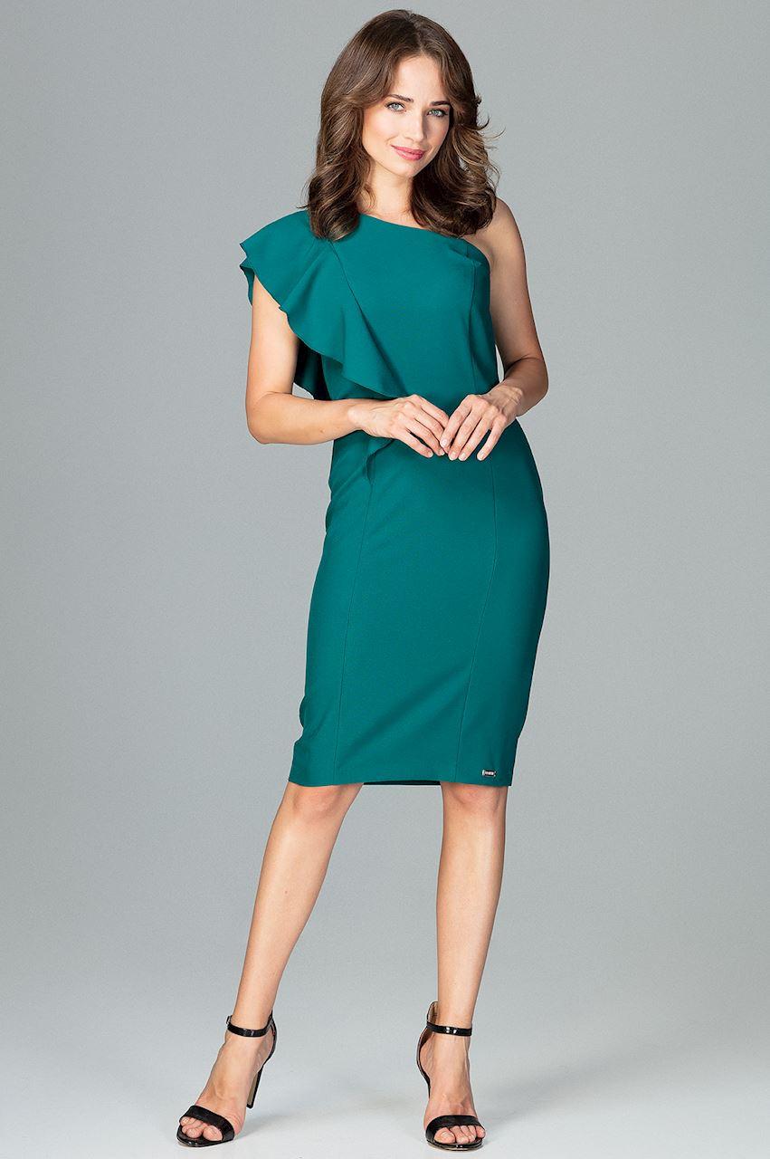 a229ce7161 CM3854 Ołówkowa sukienka z falbanką - zielona ...