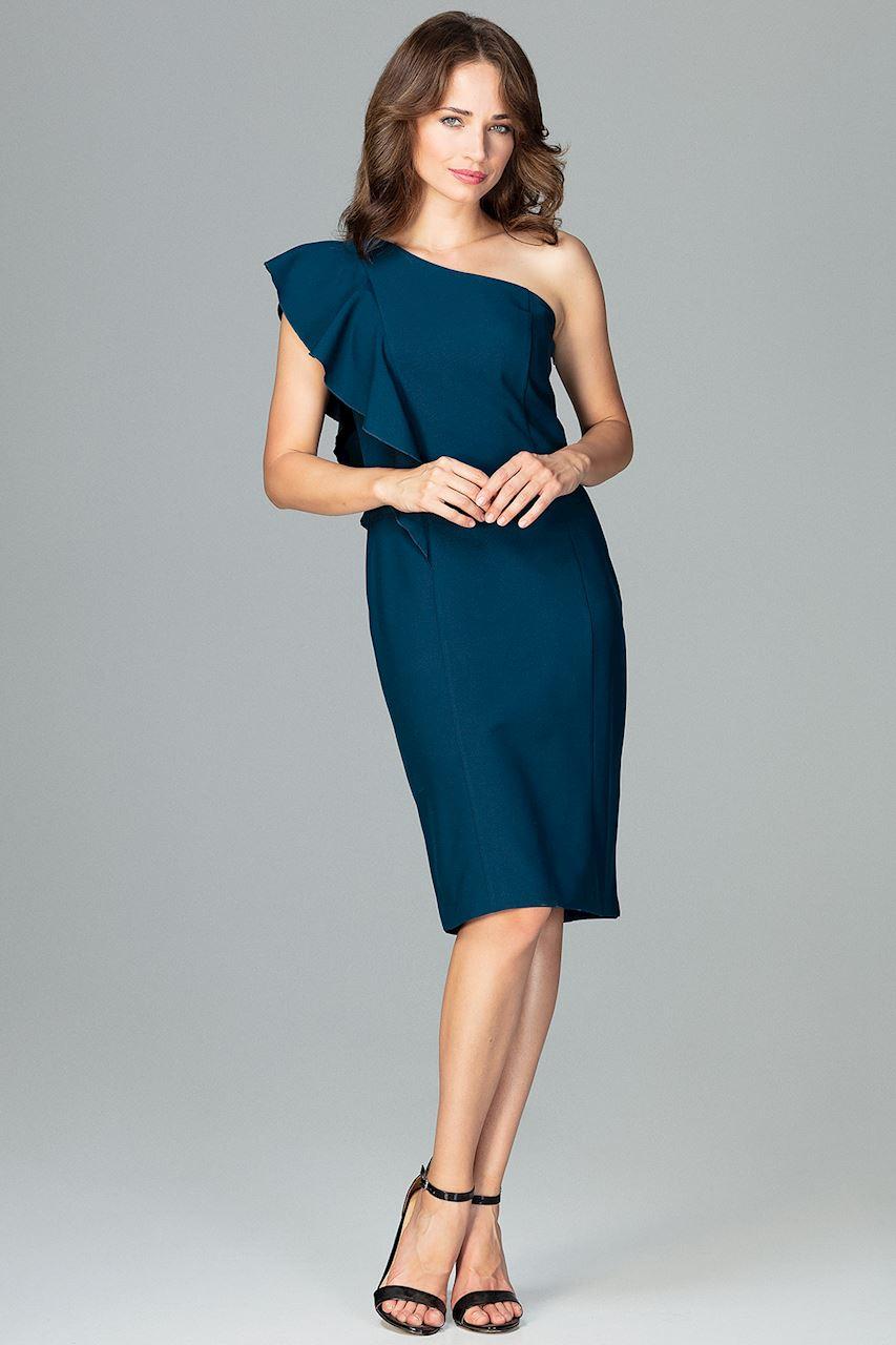 923ec06585 CM3854 Ołówkowa sukienka z falbanką - morska ...