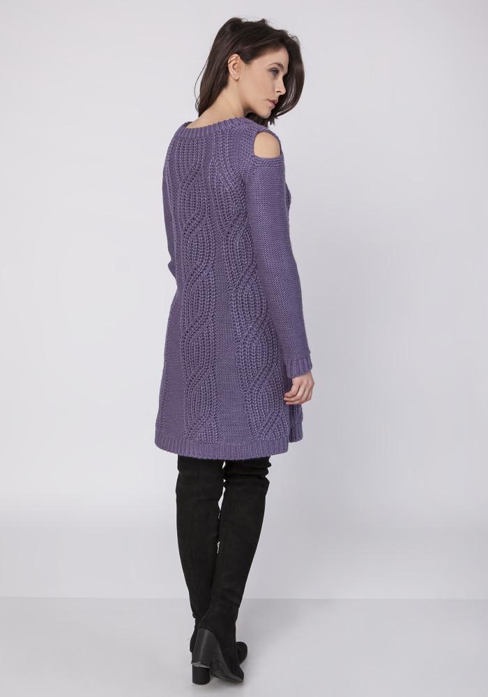 CM3860 Długa dzianinowa tunika - fioletowa