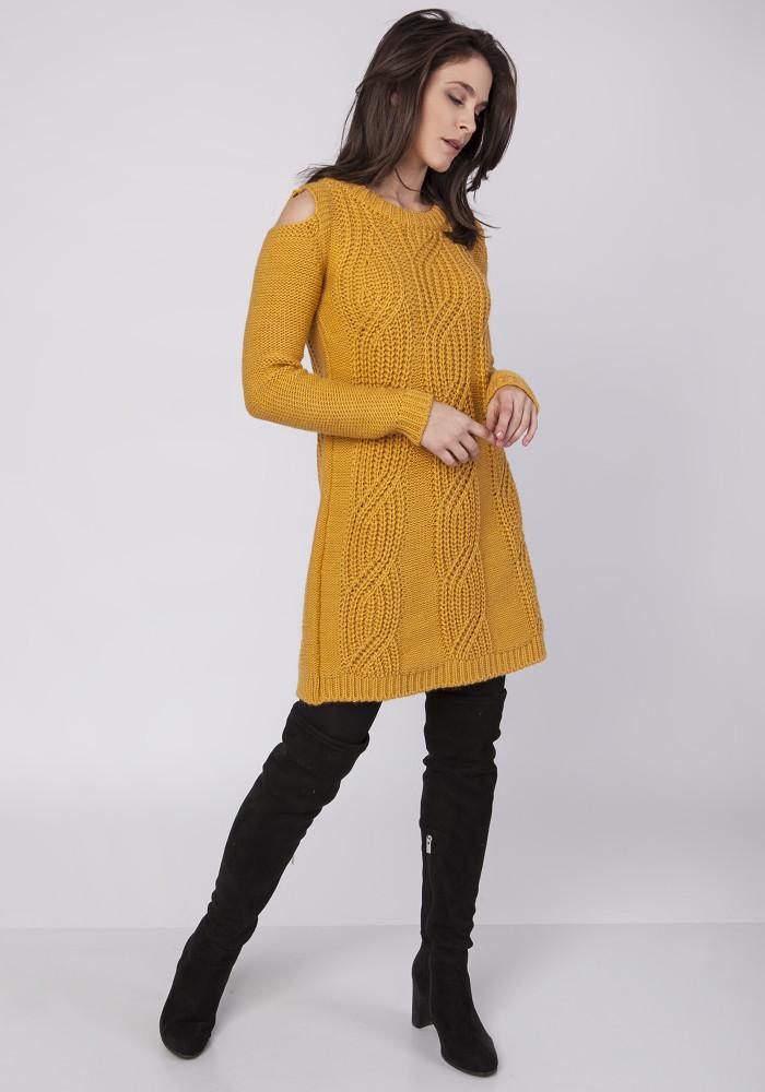 CM3860 Długa dzianinowa tunika - żółta