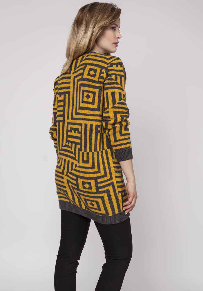 CM3871 Długi sweter - tunika ze ściągaczami - żółty