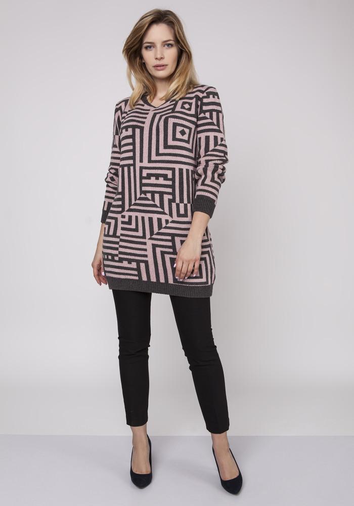 CM3871 Długi sweter - tunika ze ściągaczami - różowy