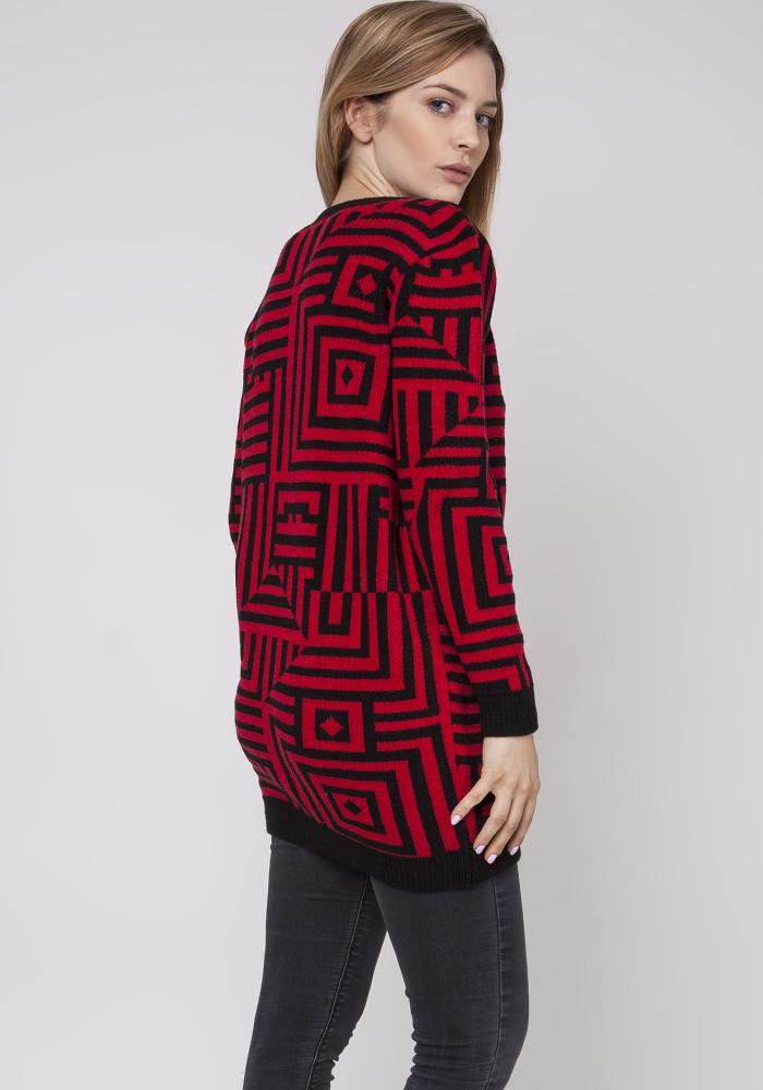 CM3871 Długi sweter - tunika ze ściągaczami - bordowy