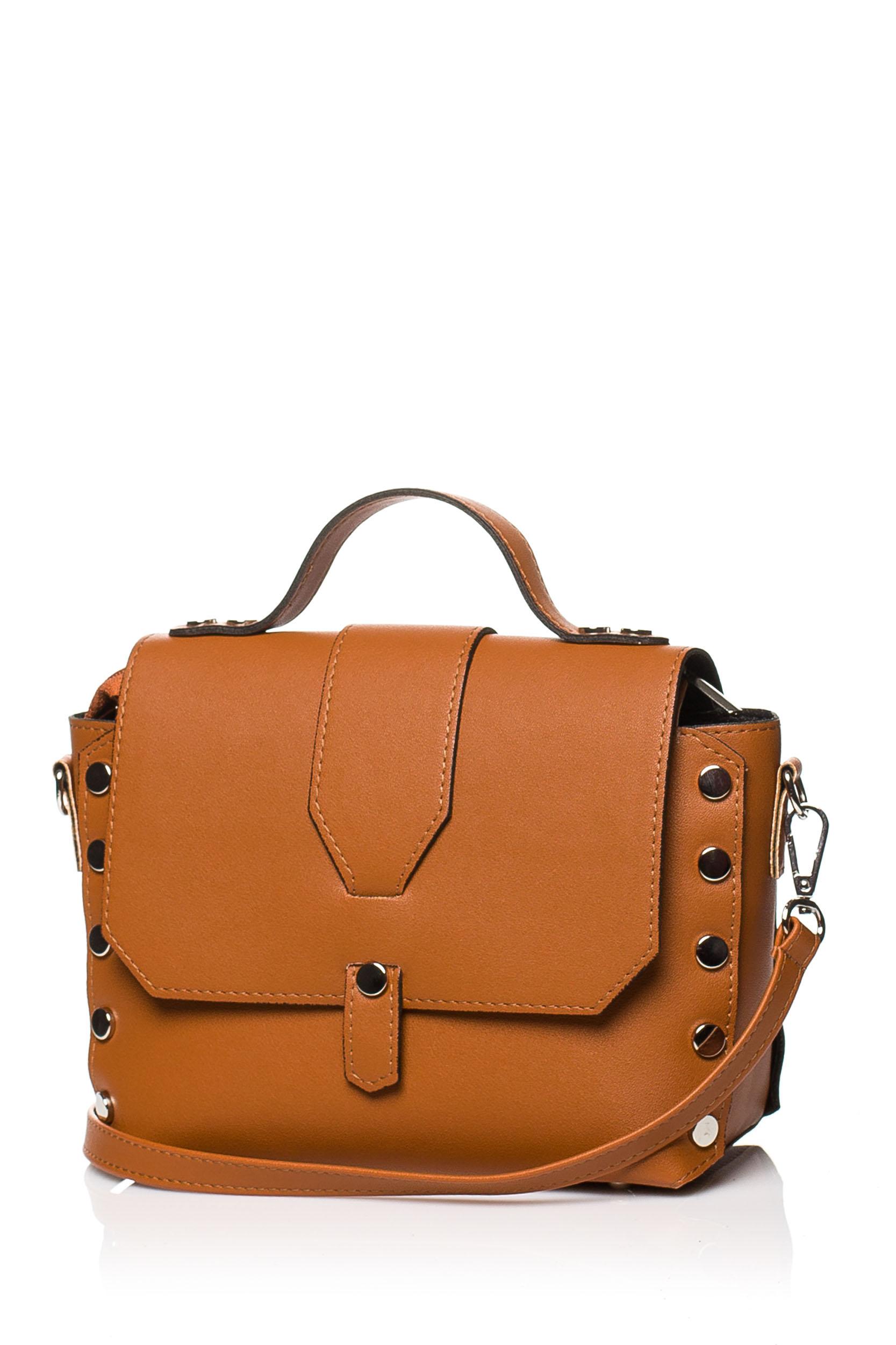 CM3573 Mała zapinana torebka z paskiem - ruda