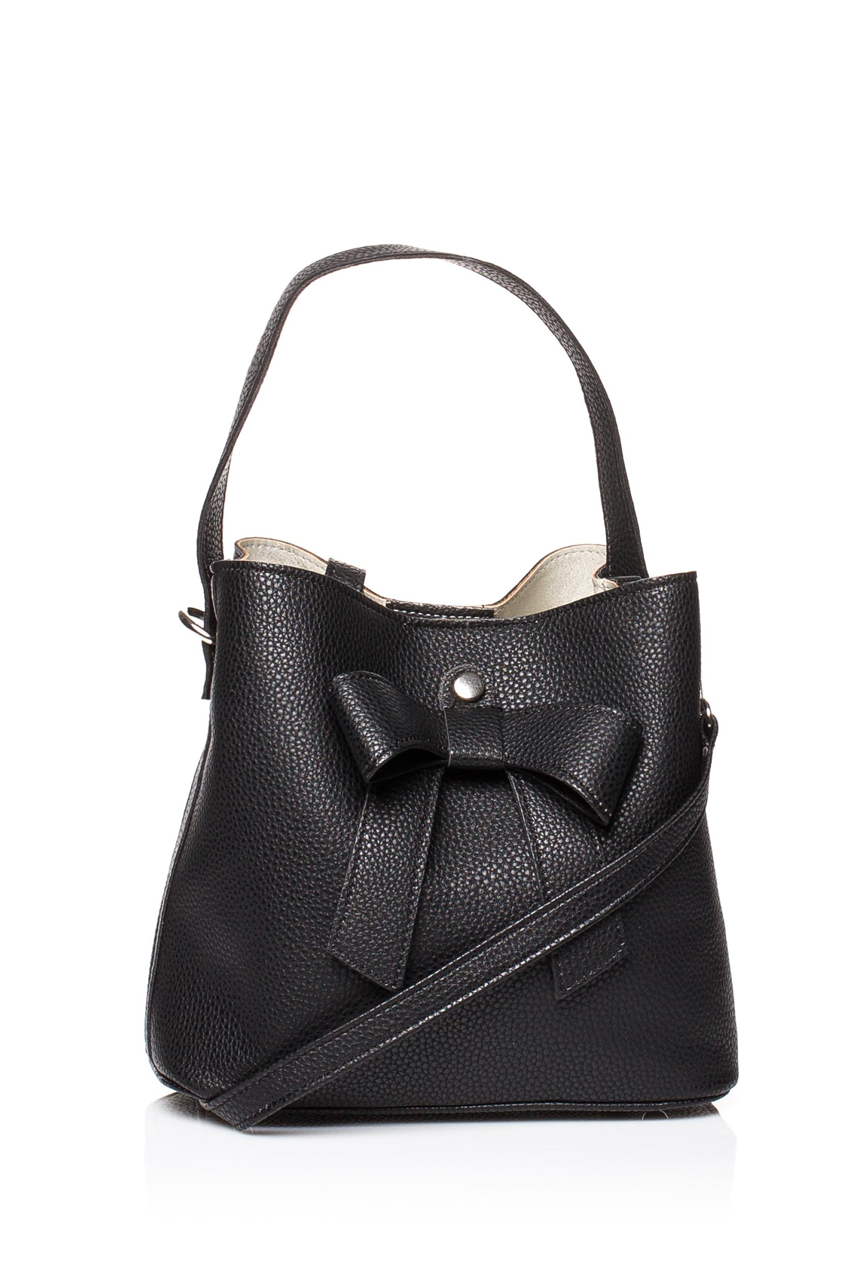CM3833 Elegancka torebka z kokardką - czarna
