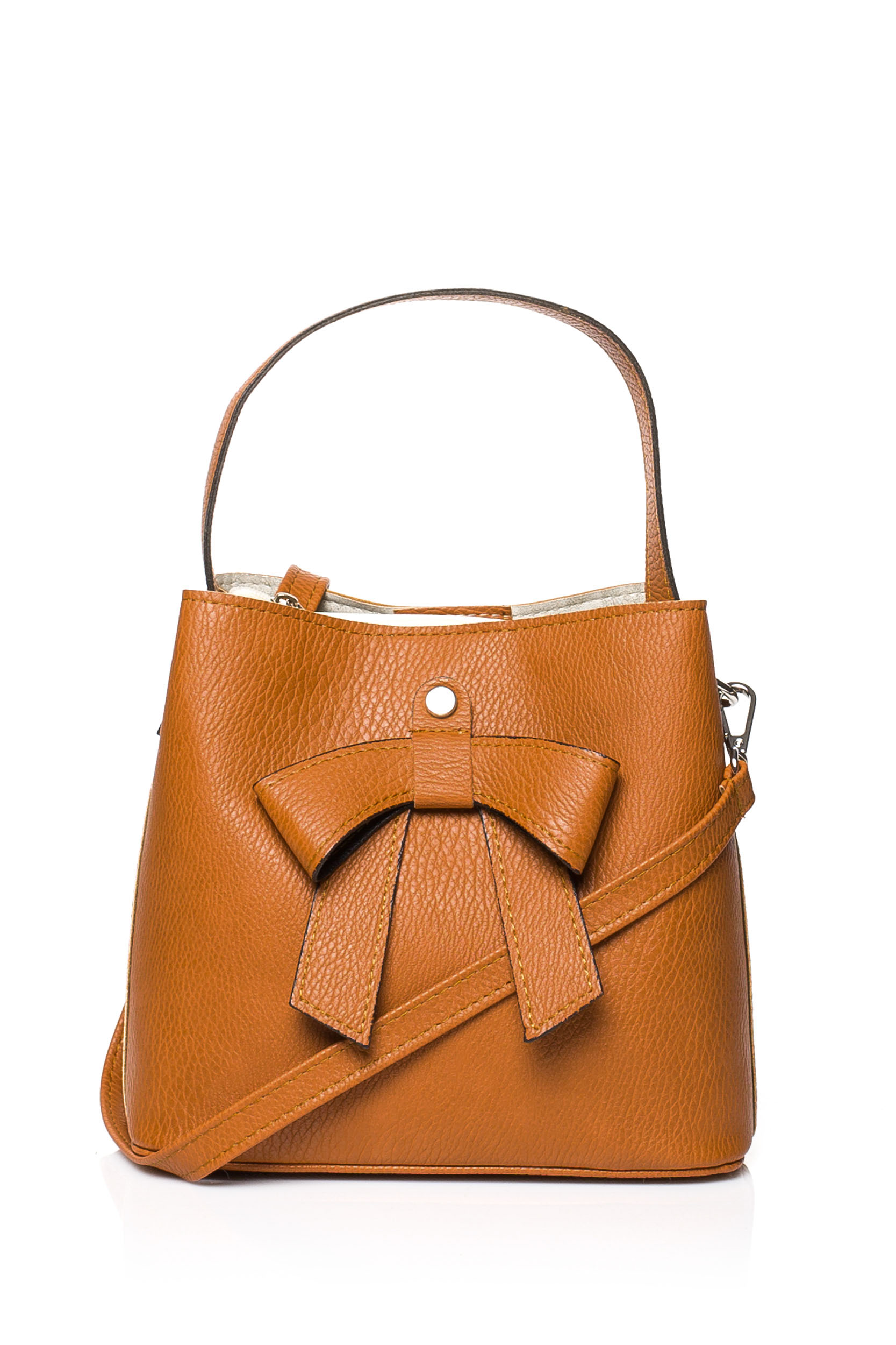 CM3833 Elegancka torebka z kokardką - ruda