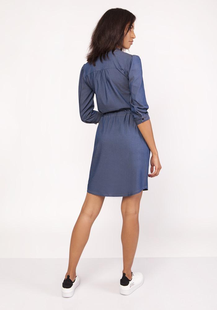 CM3877 Sukienka midi z delikatną stójką - jeansowa