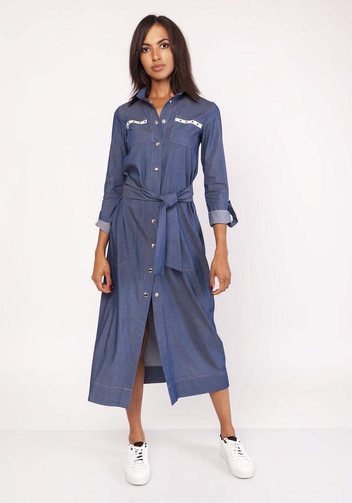 92b5258963 CM3879 Długa militarna sukienka - jeansowa ...