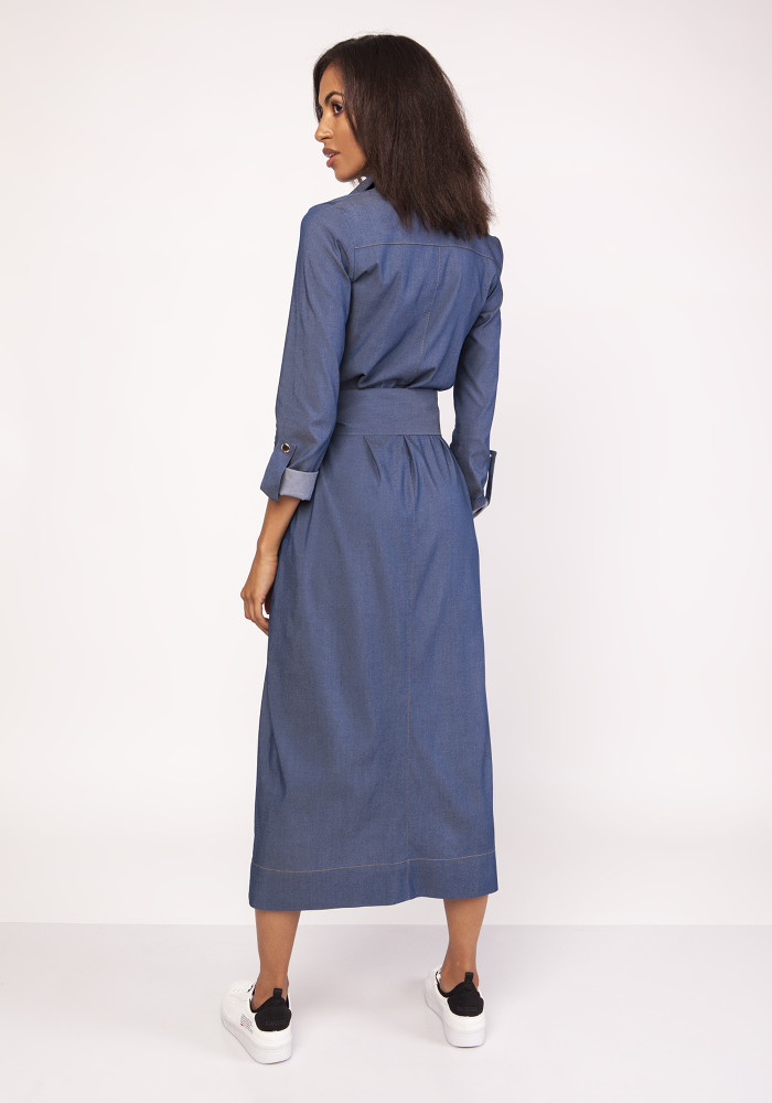 CM3879 Długa militarna sukienka - jeansowa