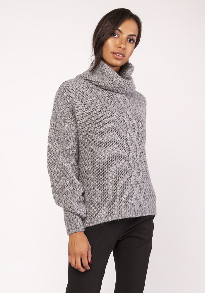 CM3882 Ciepły sweter oversize - grafitowy