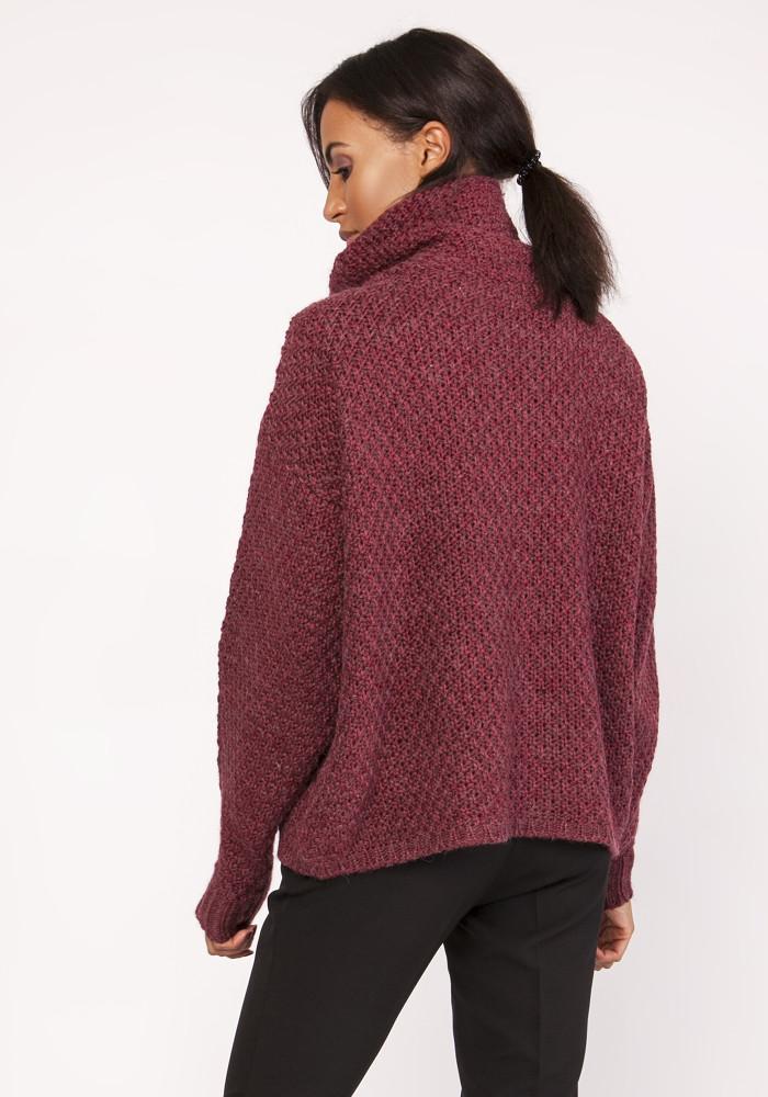 CM3882 Ciepły sweter oversize - bordowy