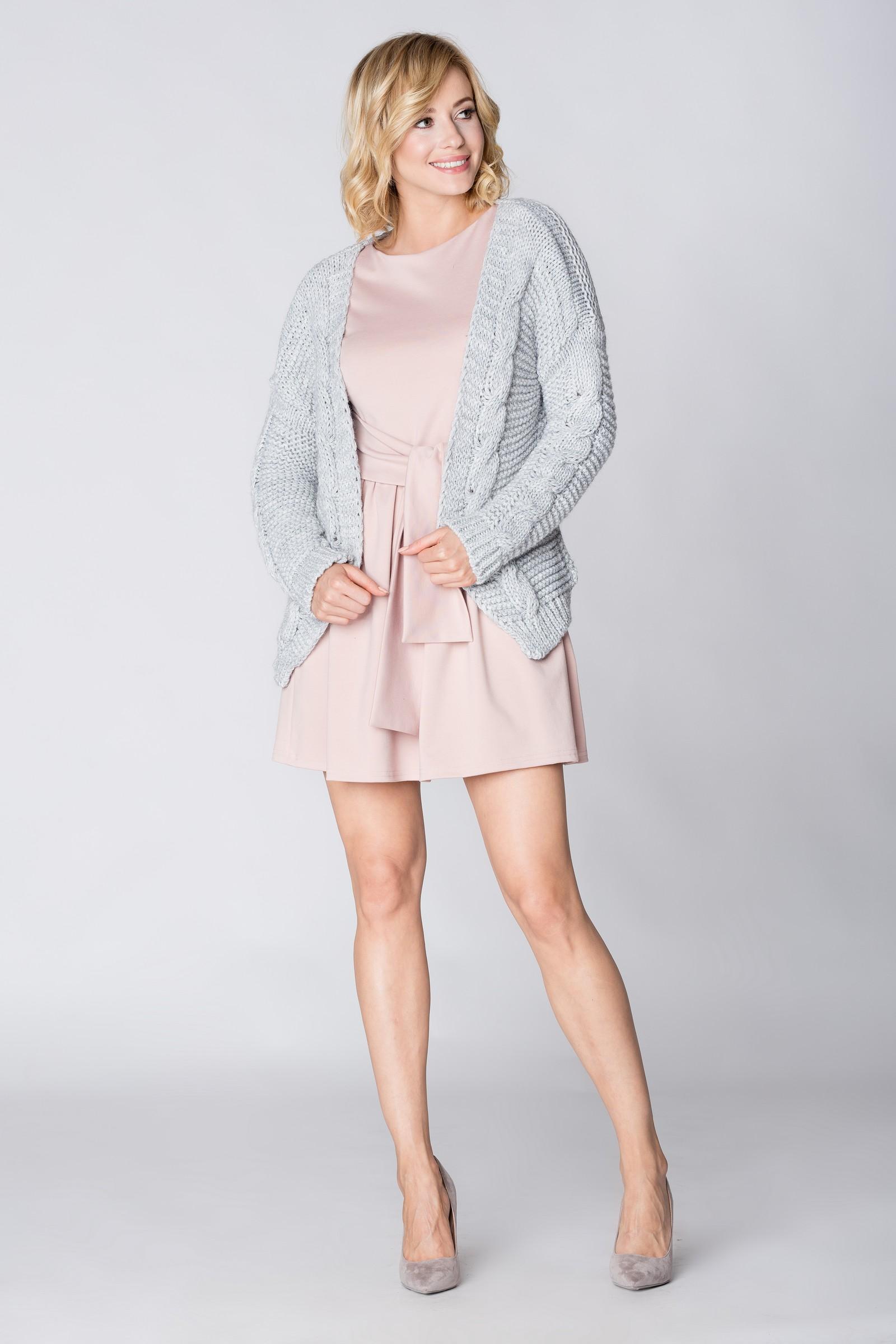 CM3885 Niezapinany uniwersalny sweter - szary