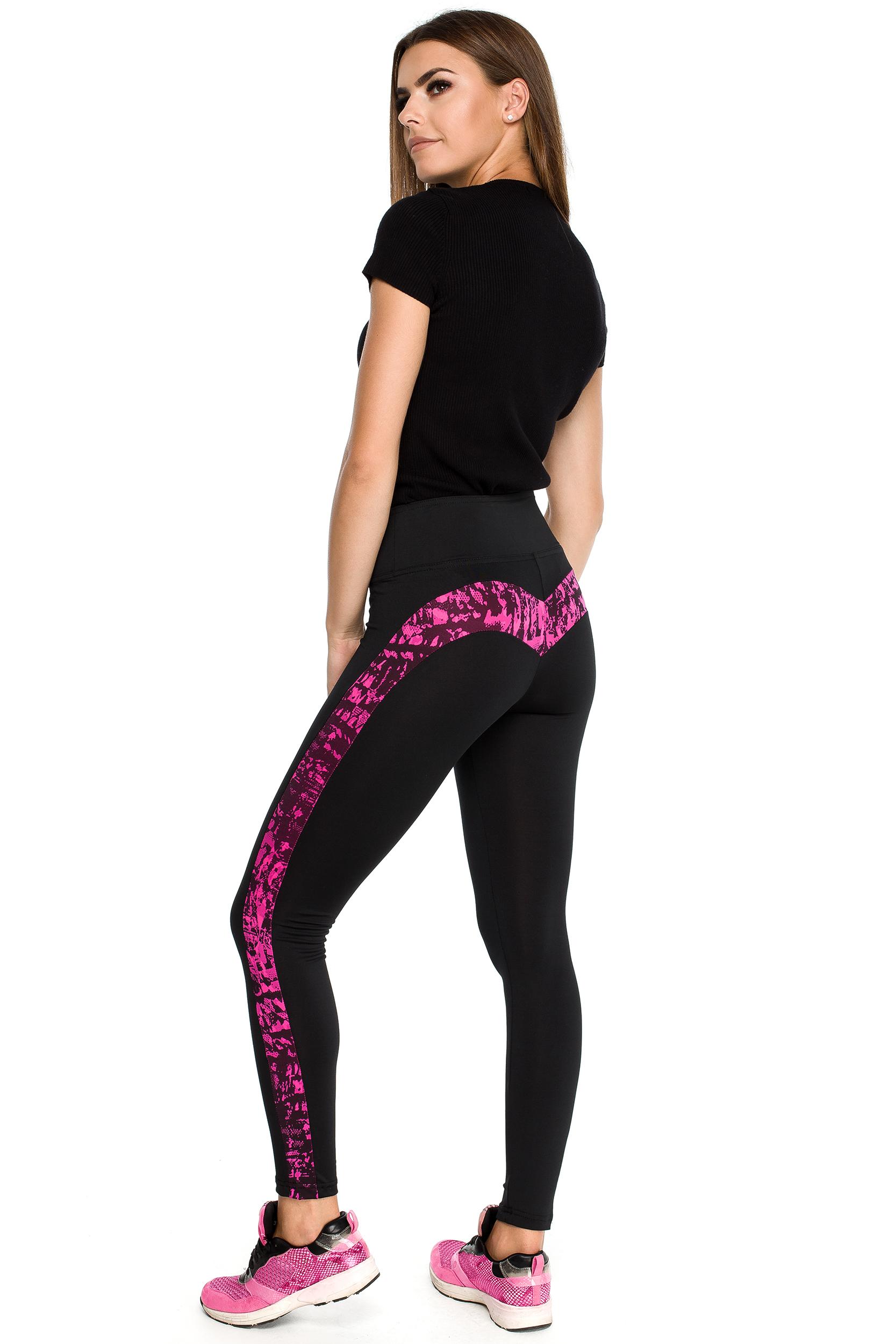 CM3902 Gładkie sportowe legginsy z wysokim stanem i wstawką