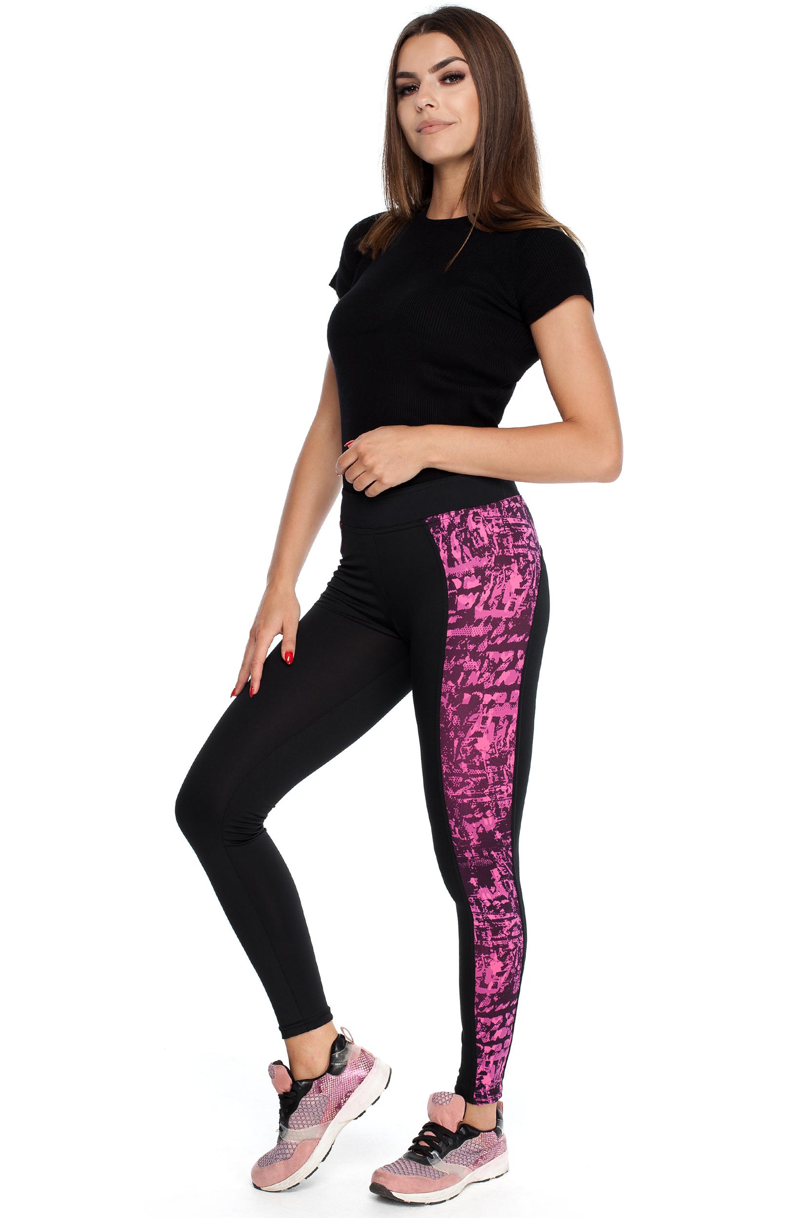 CM3914 Elastyczne legginsy z ozdobną wstawką