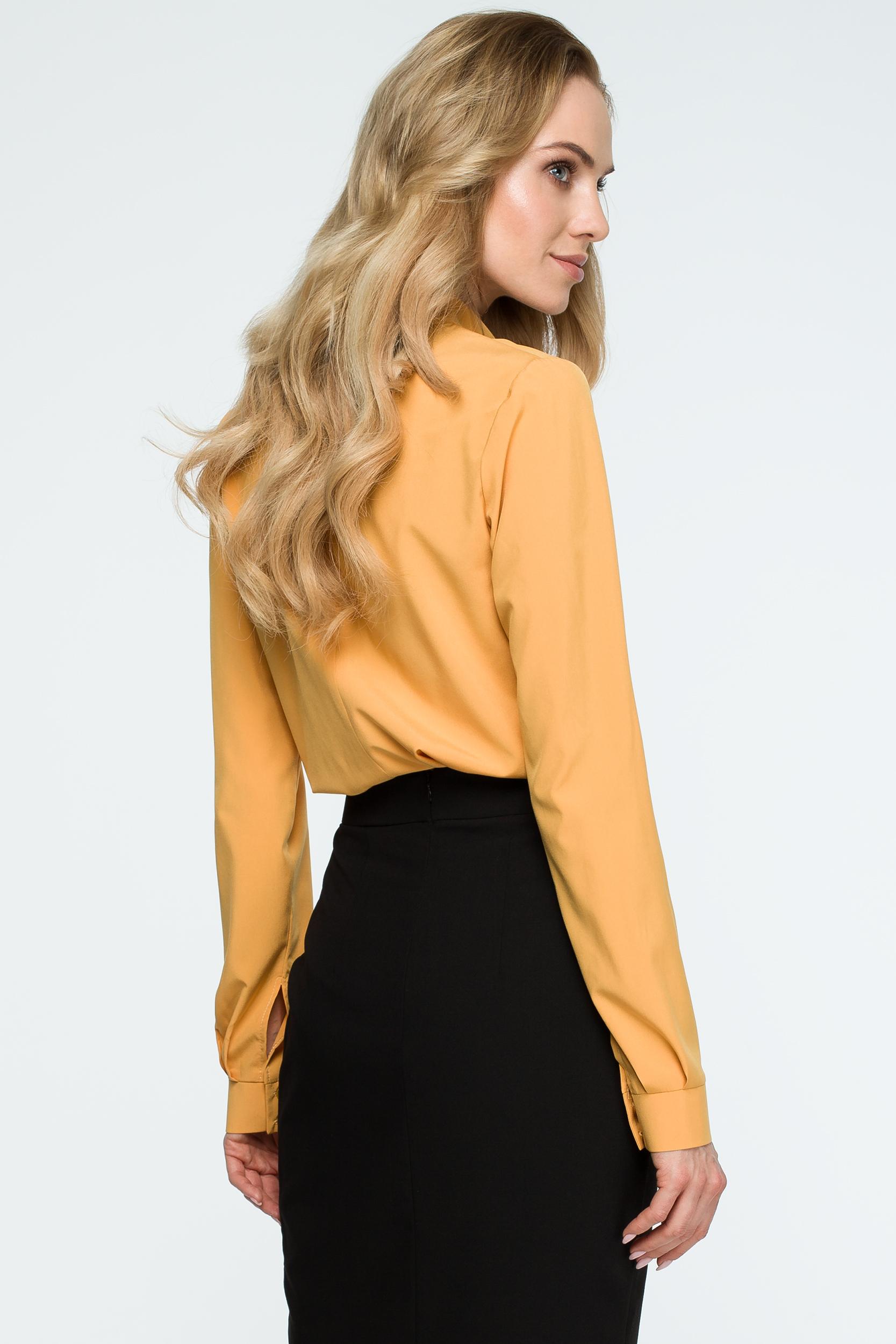 CM3844 Gładka bluzka z długimi rękawami - żółta